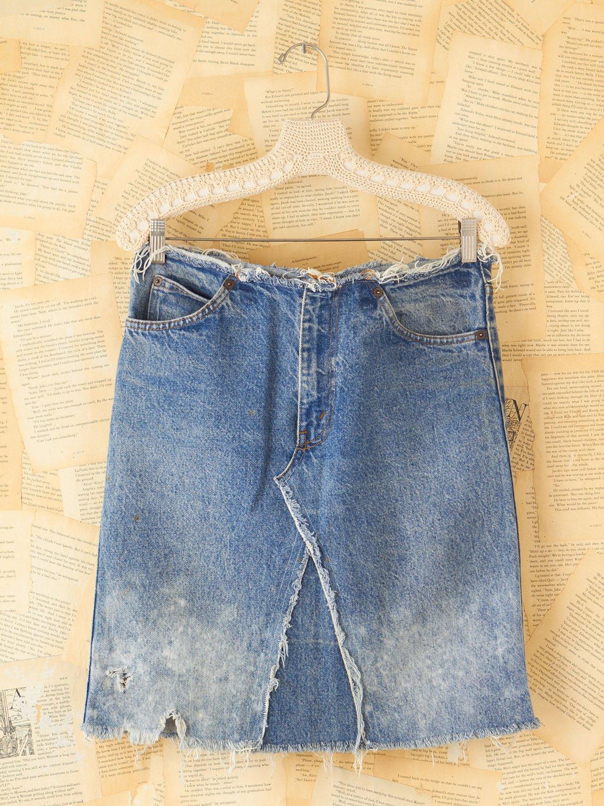 Vintage Frayed Denim Skirt