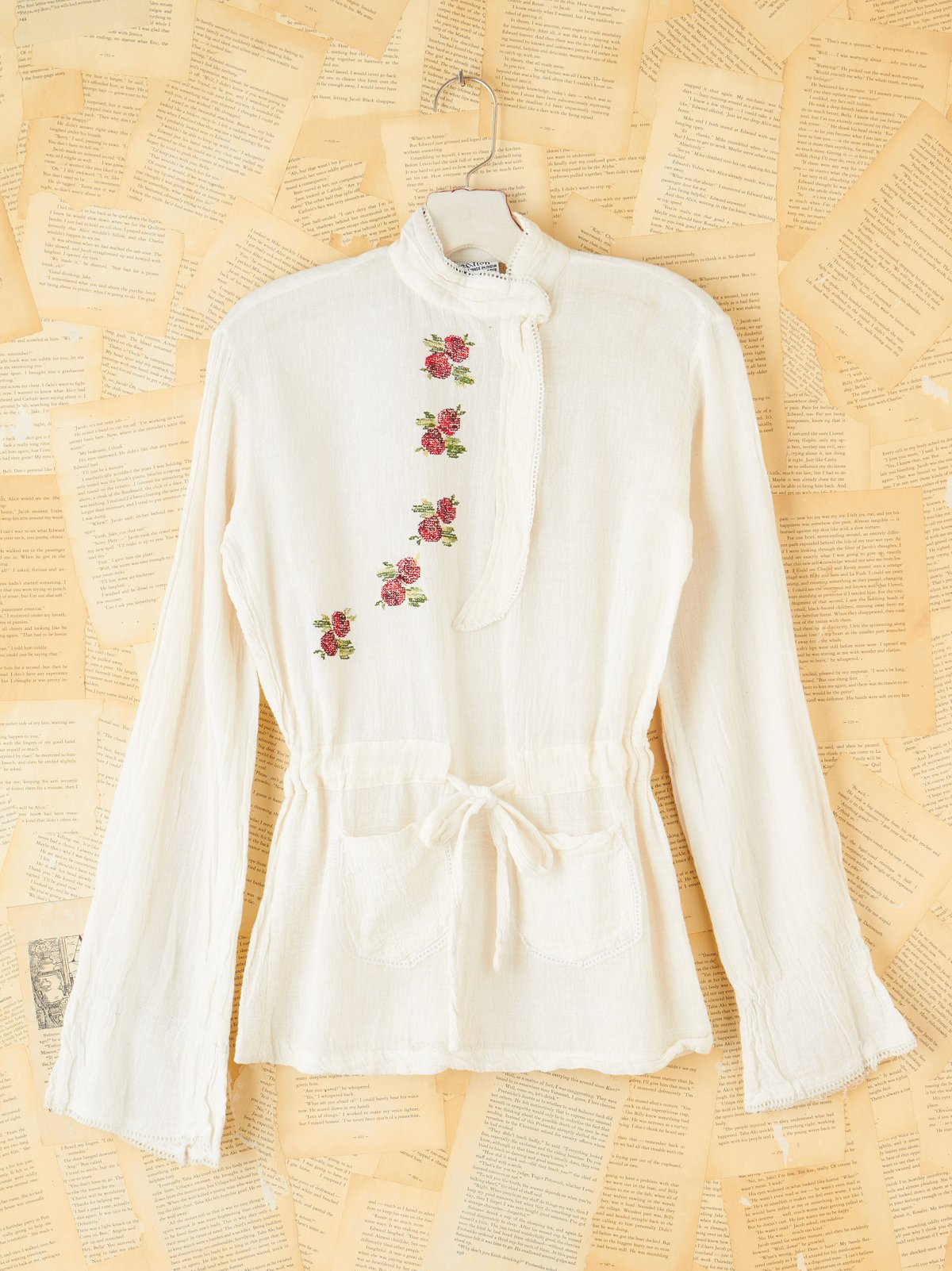 Vintage Embroidered Side Button Top
