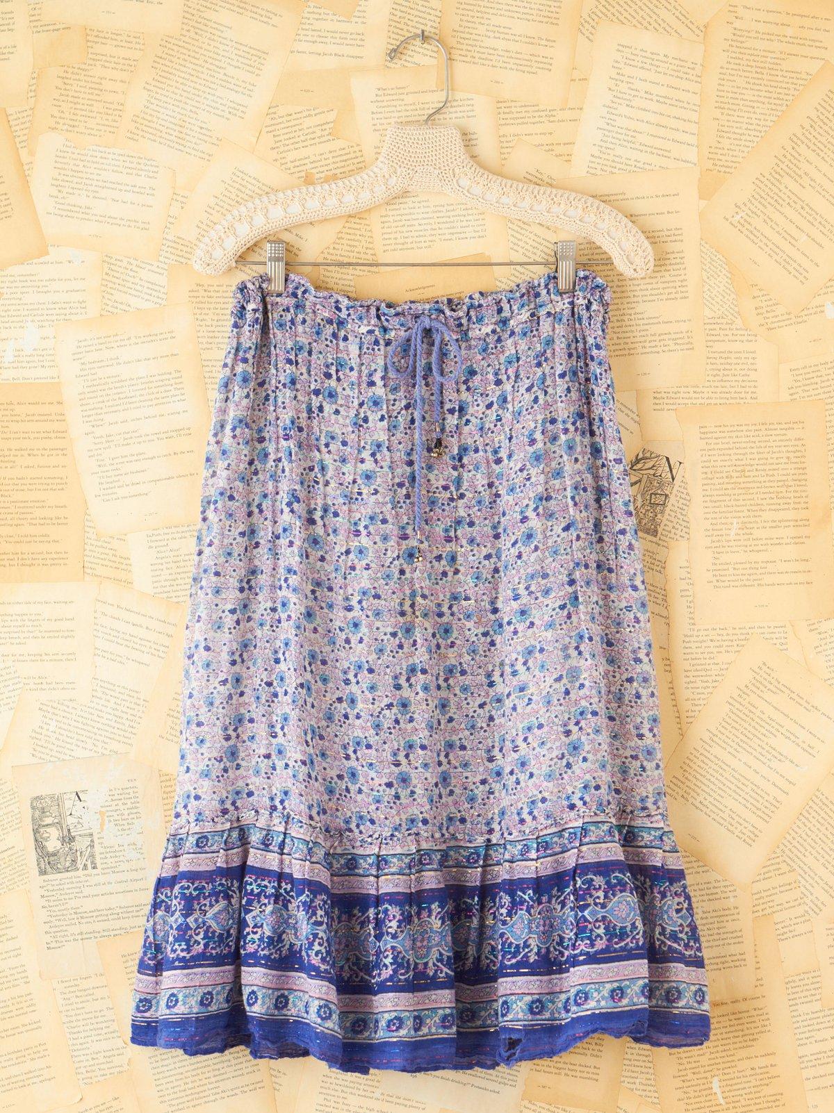 Vintage Floral Metallic Boho Skirt