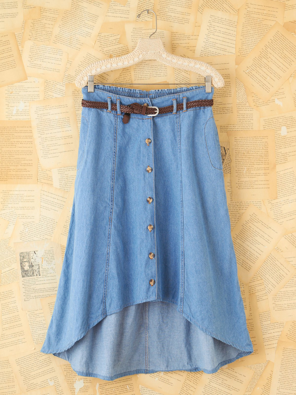 Vintage Bill Blass Chambray High-Low Button Skirt