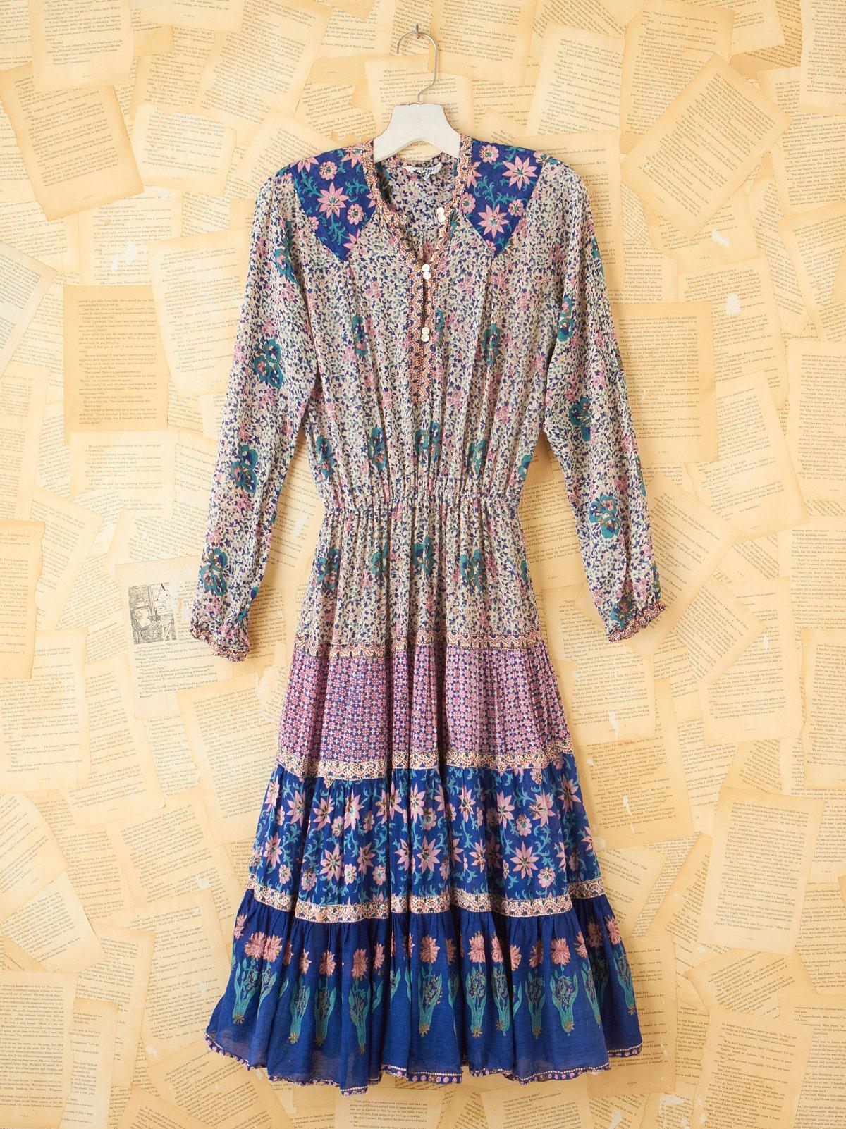 Vintage Floral Cinched Waist Dress