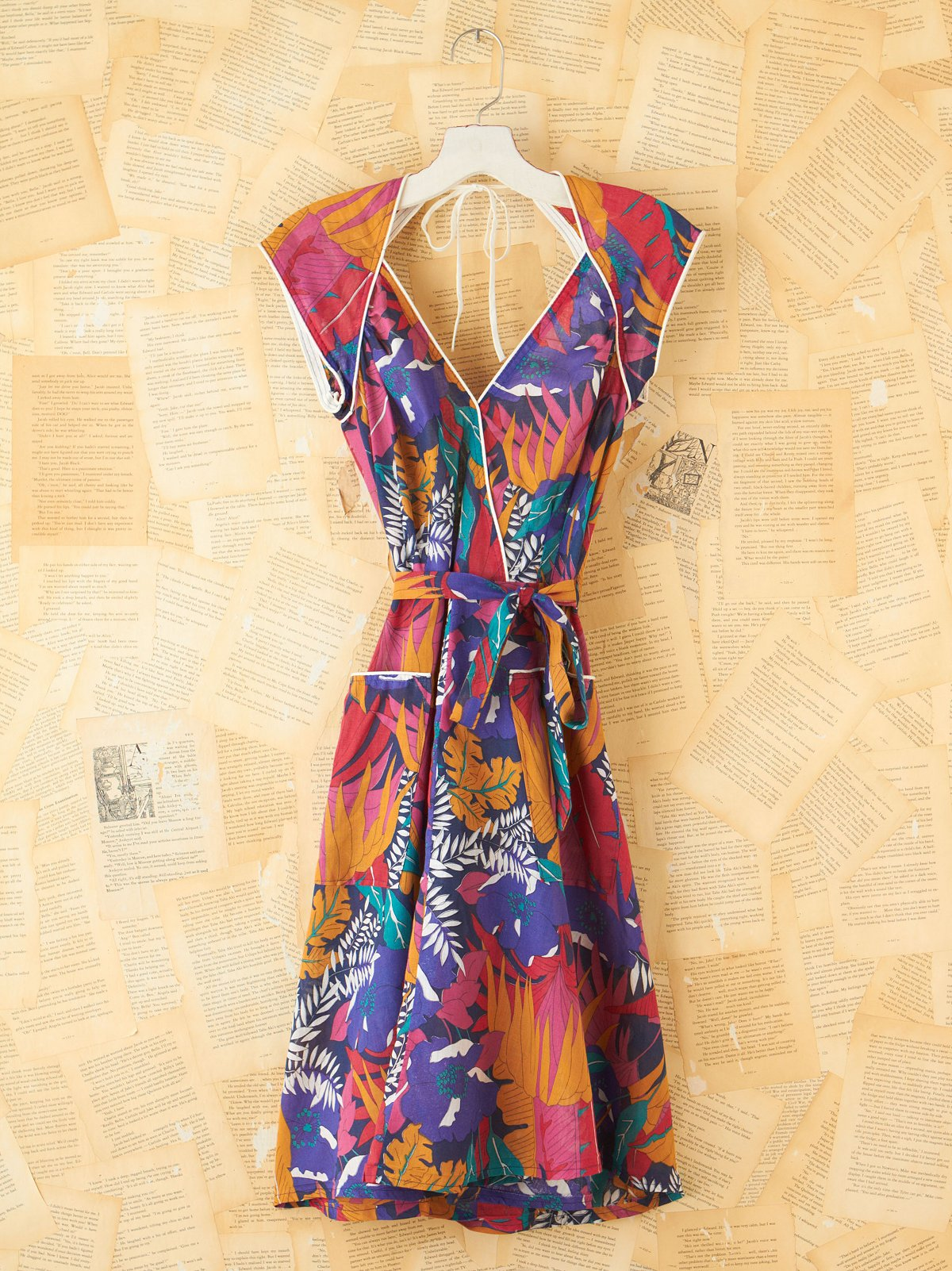 Vintage Patterned Wrap Dress