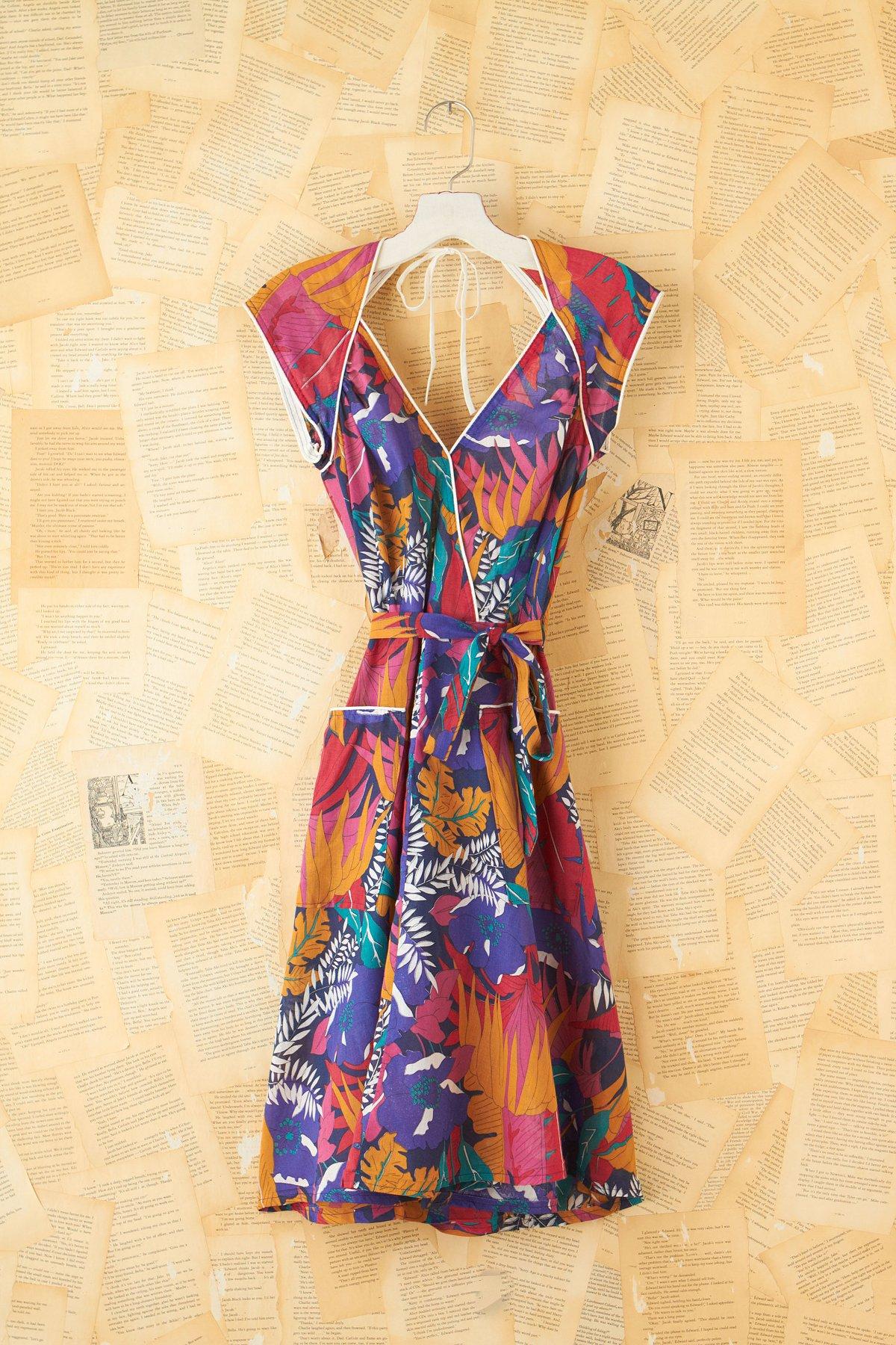 Vintage Patterned Wrap Dress