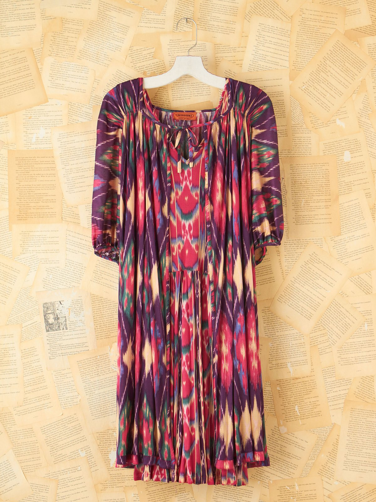 Vintage Missoni Ikat Dress with Cape