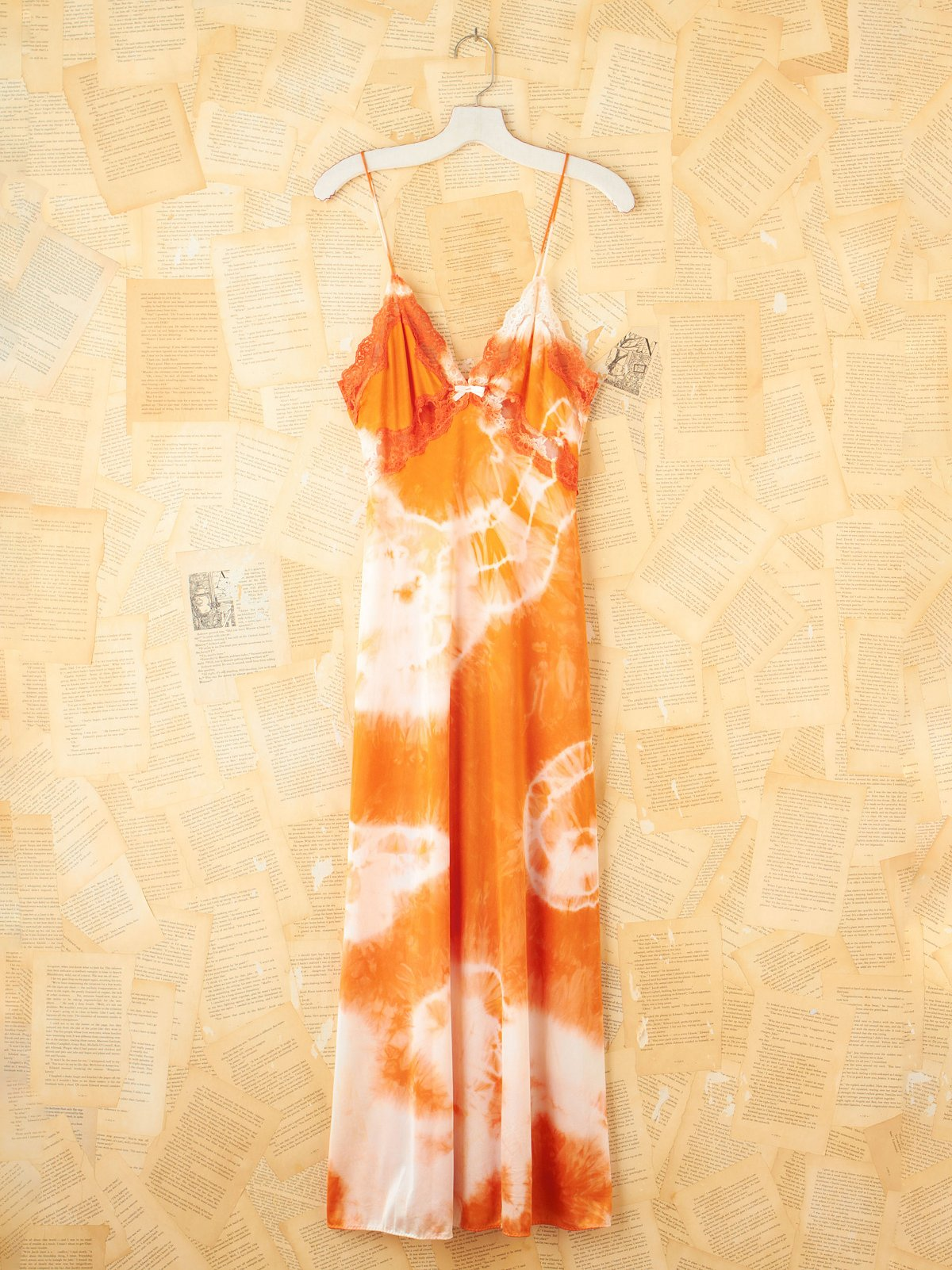 Vintage Orange Tie Dye Maxi Slip Dress