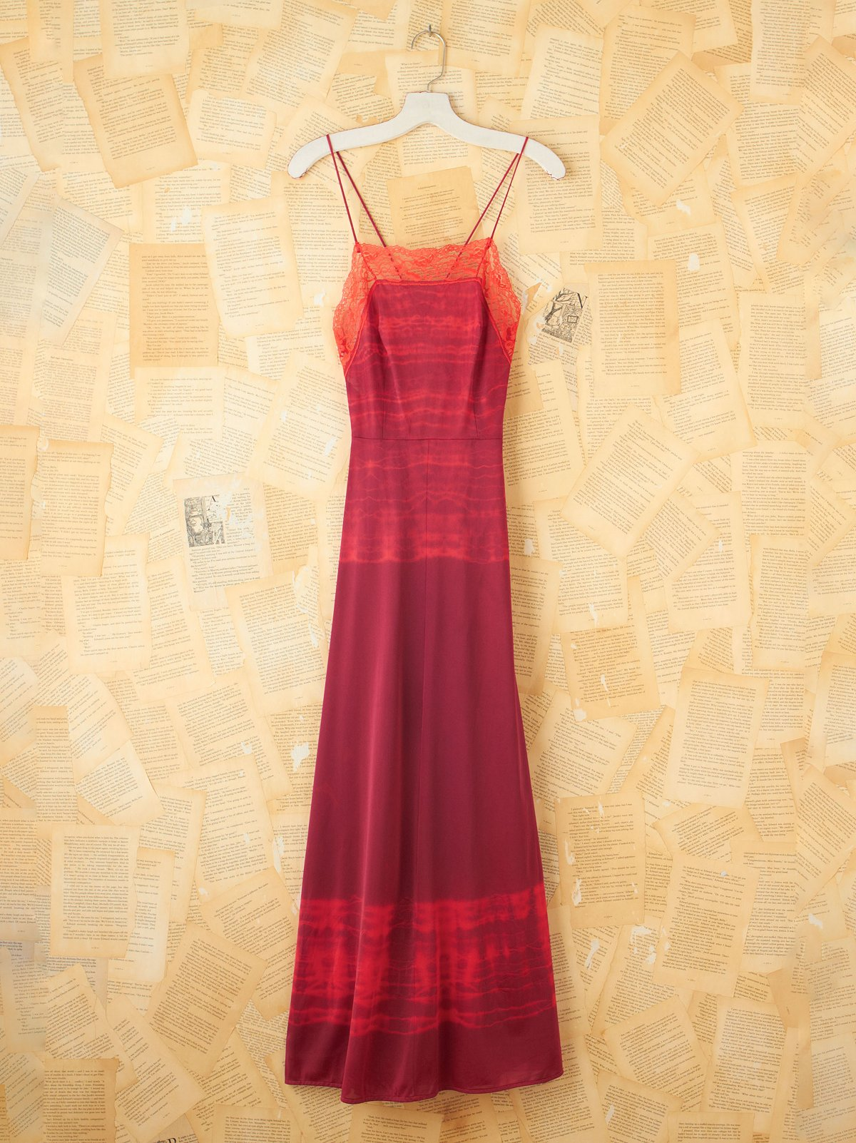Vintage Red Tie Dye Maxi Slip Dress