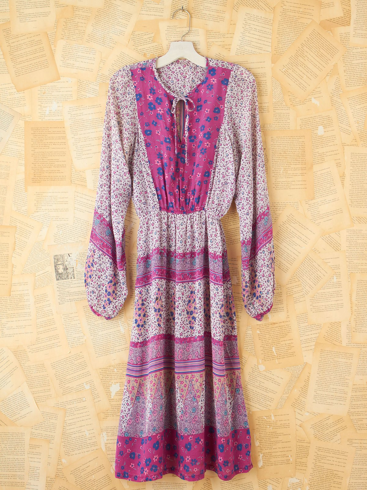 Vintage Patterned Cinch Waist Dress