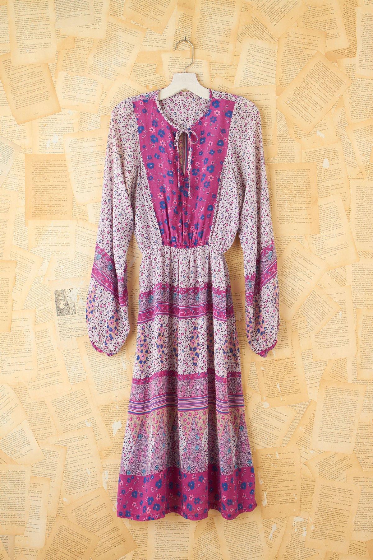 Vintage Patterned Cinch Waist Dress