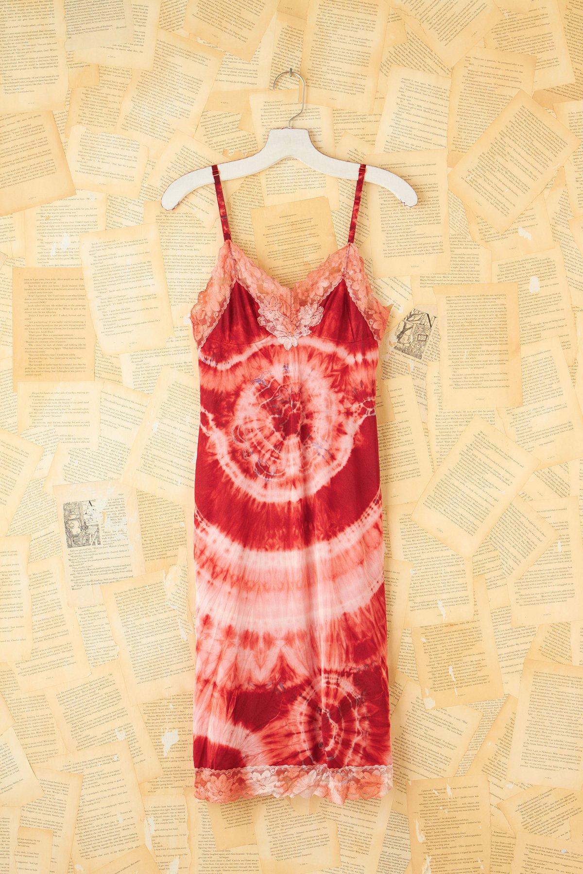 Vintage Red Tie Dyed Slip Dress