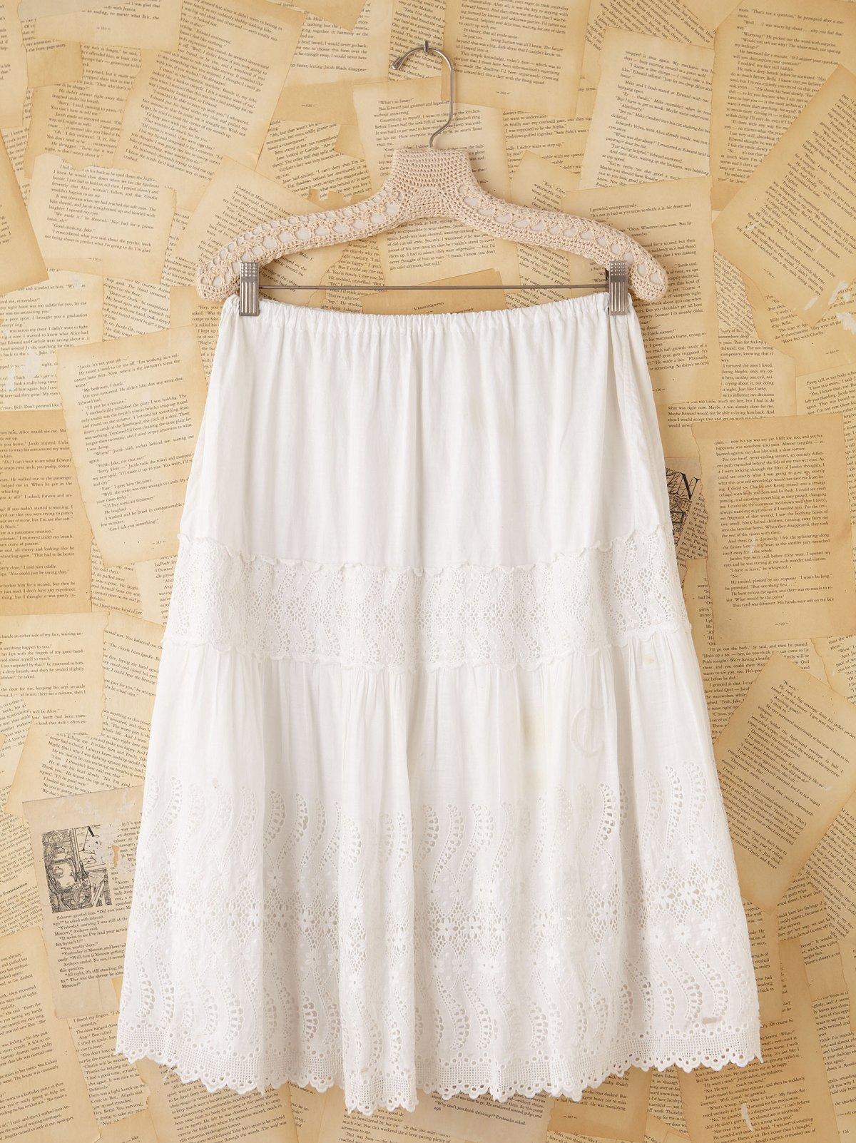Vintage White Cotton Peasant Skirt