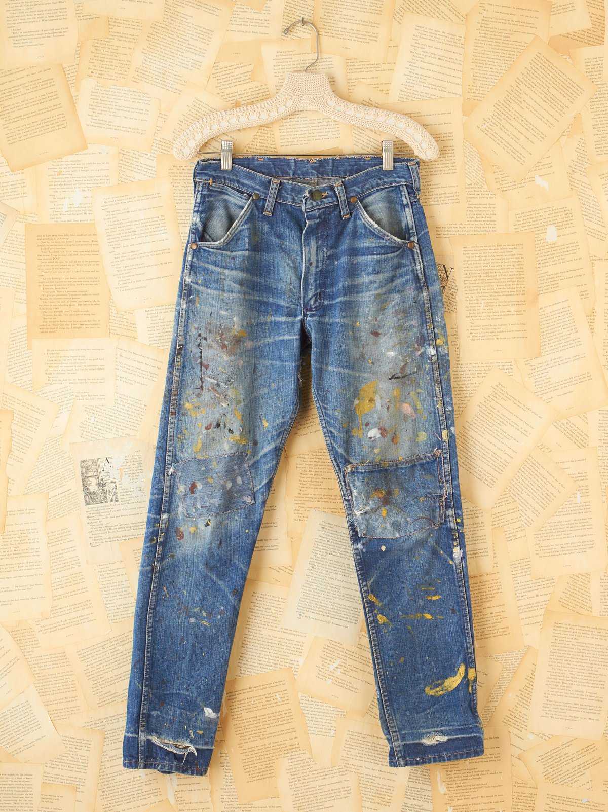 Vintage Paint Splattered Distressed Jeans