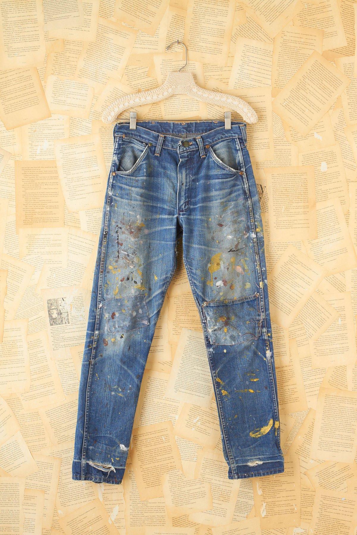Vintage Paint Splattered Distressed Jeans