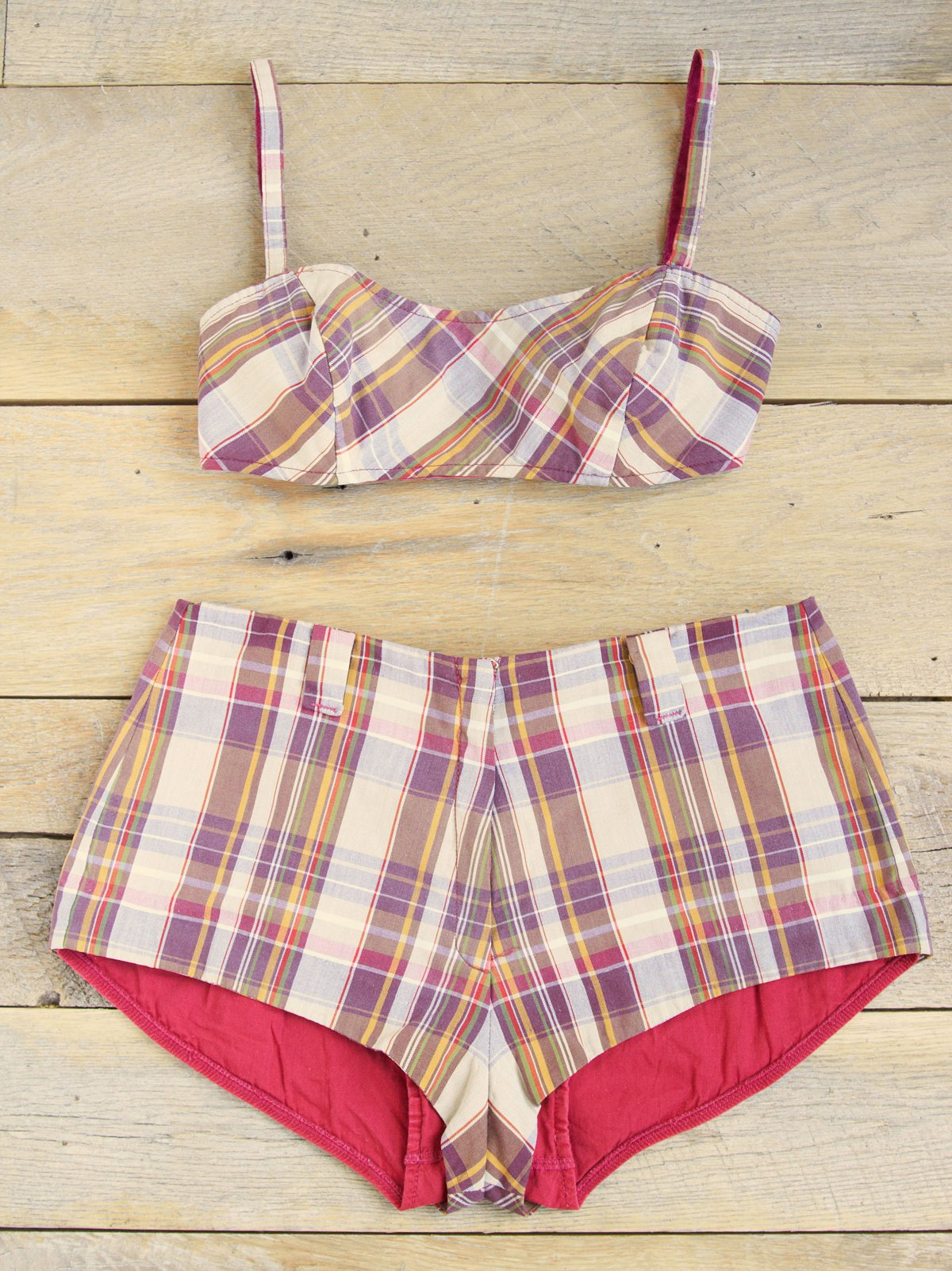 Vintage Plaid Bralette and Boyshorts Set