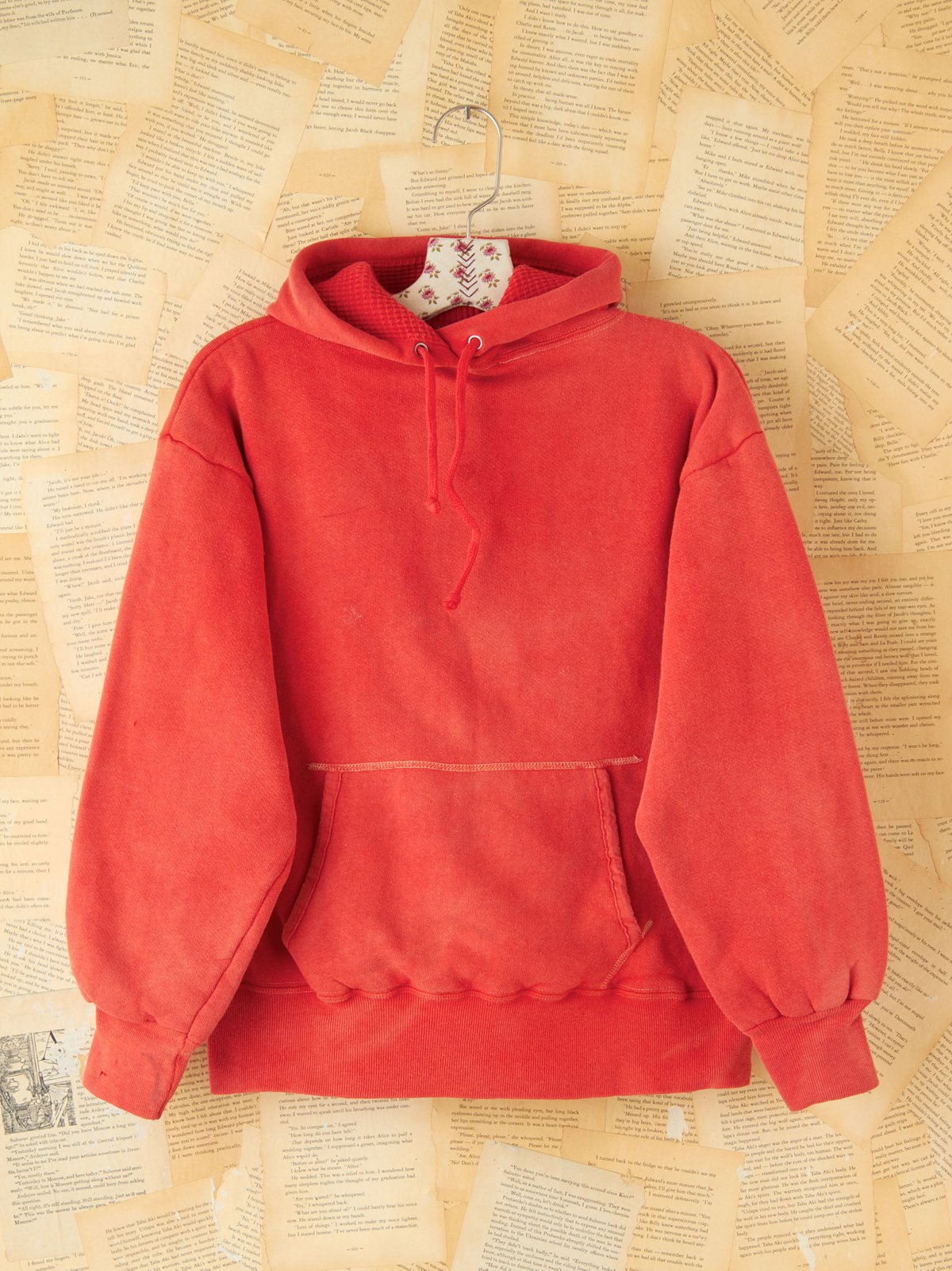 Vintage Red Double-Sided Hooded Sweatshirt