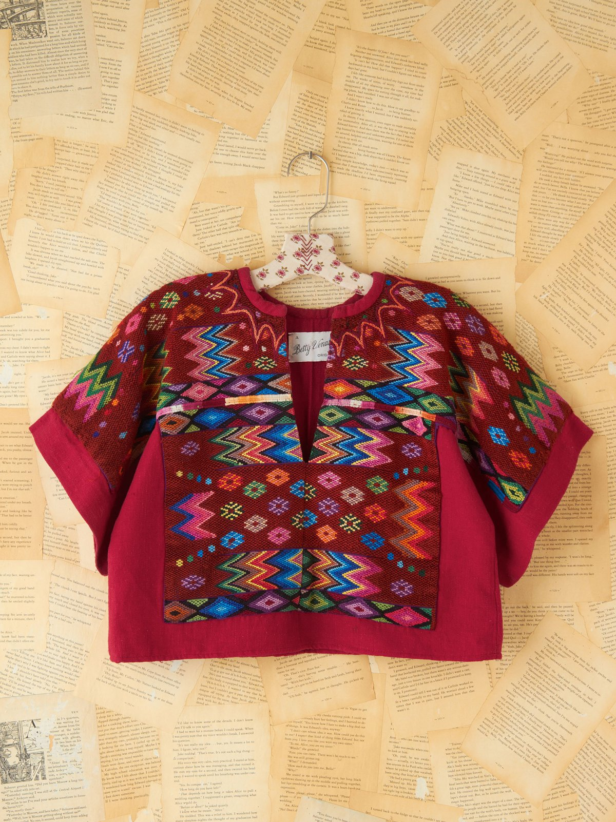 Vintage Embroidered Woven Crop Top