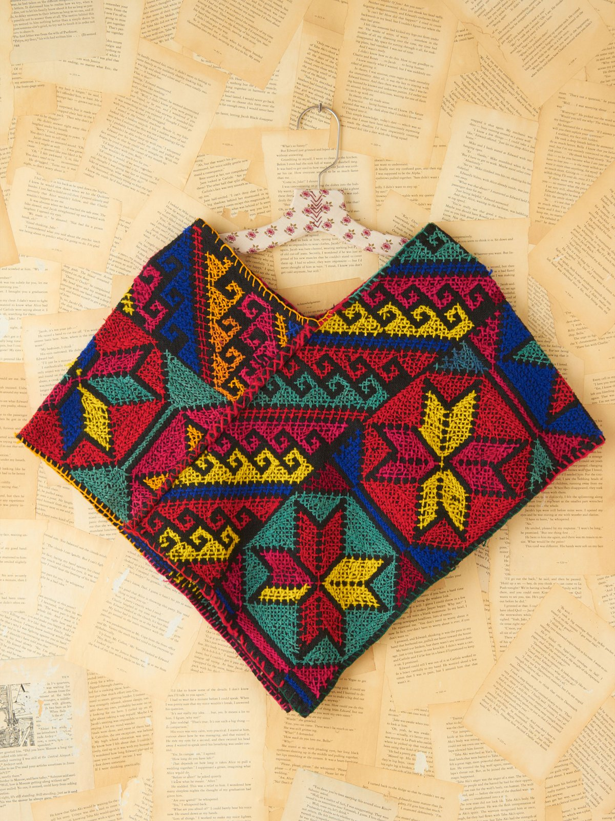 Vintage Multicolor Embroidered Poncho