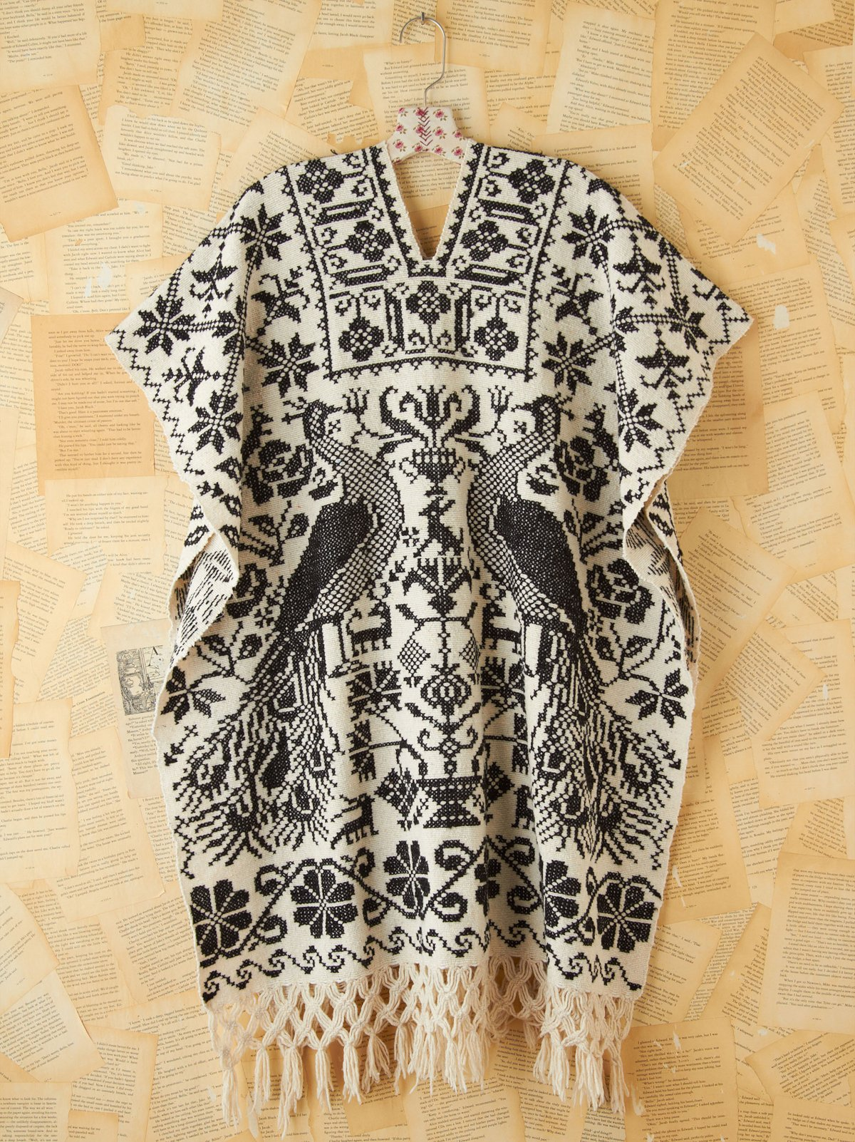 Vintage Black and White Embroidered Poncho