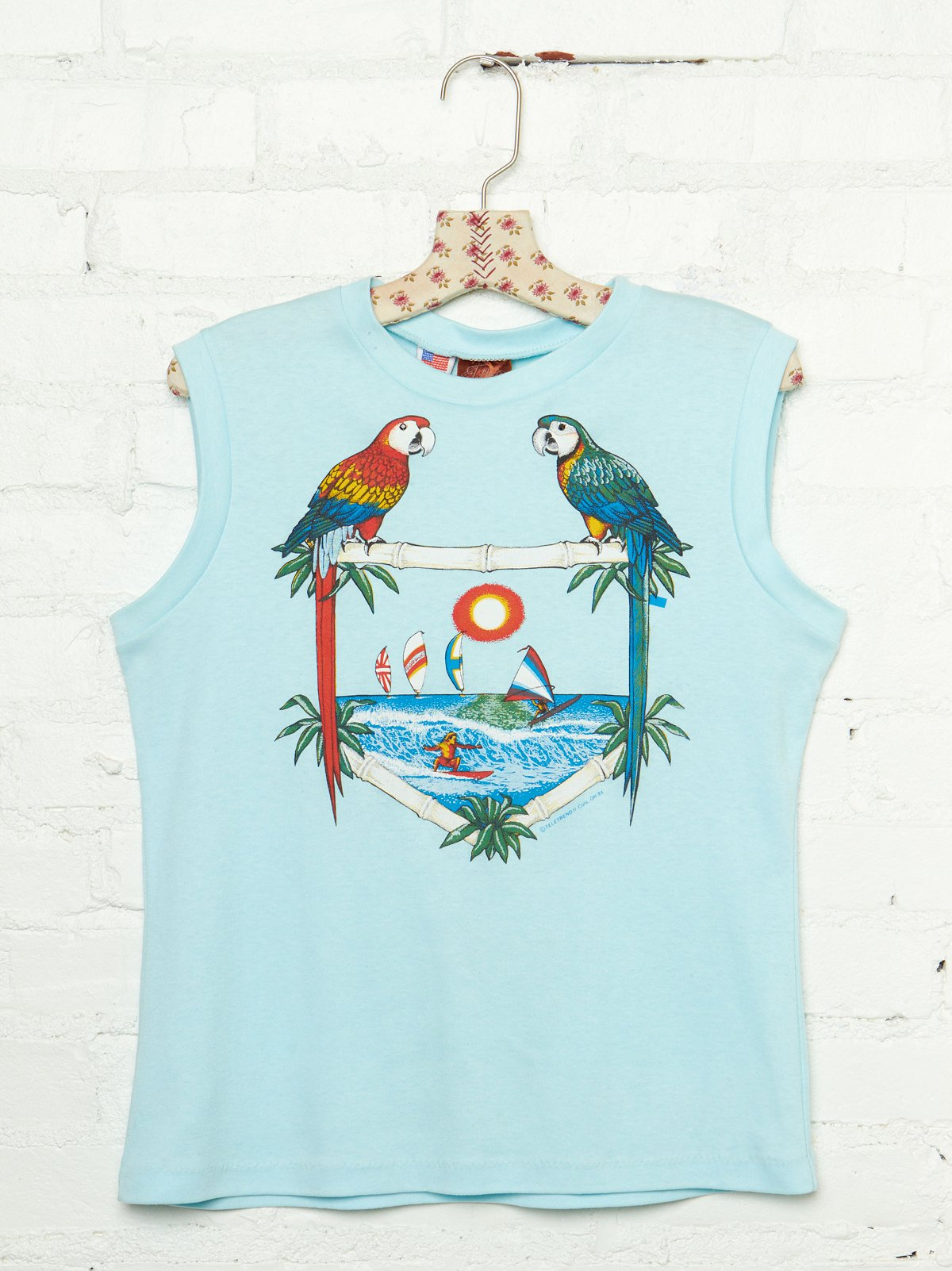 Vintage Summer Parrot Graphic Tank