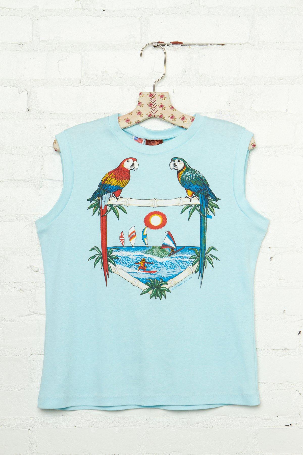 Vintage Summer Parrot Graphic Tank