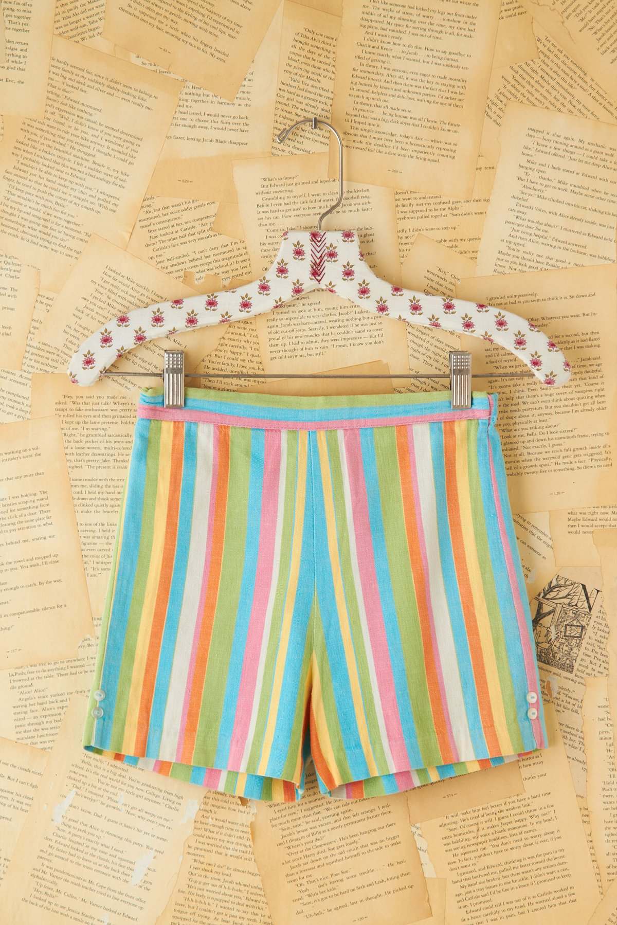 Vintage Candy Color Striped Shorts