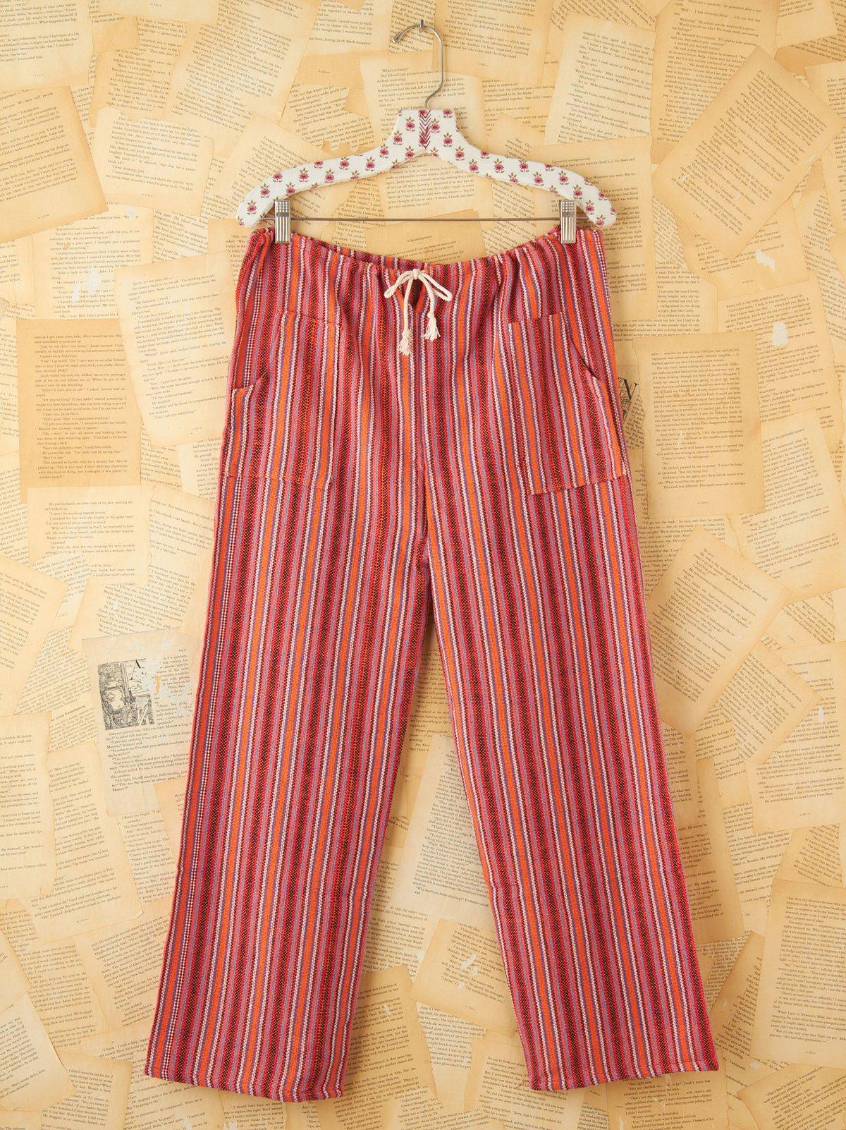 Vintage Multicolor Stripe Woven Cotton Pants