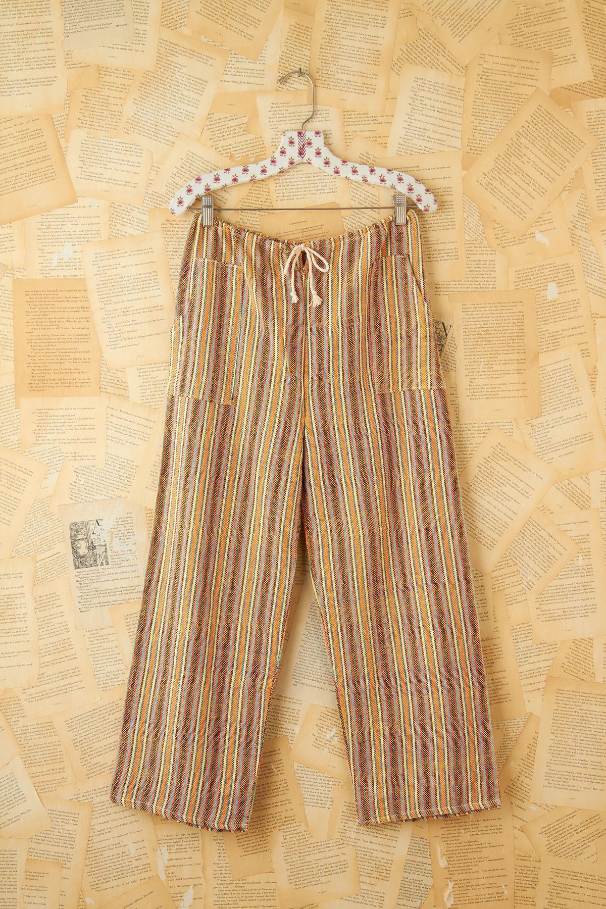 Vintage Multicolor Stripe Woven Cotton Pants