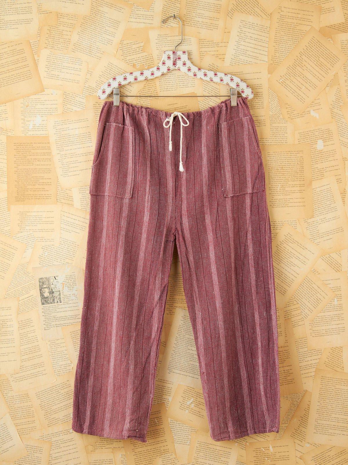Vintage Pink Stripe Cotton Pants