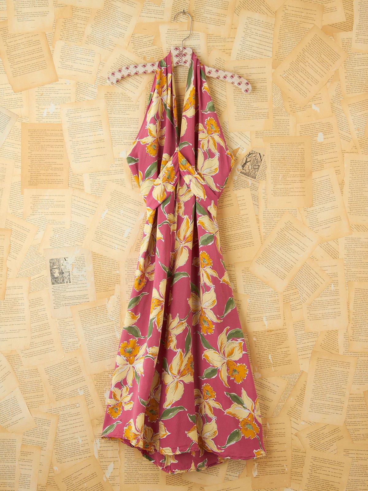 Vintage 1980s Floral Printed Halter Dress
