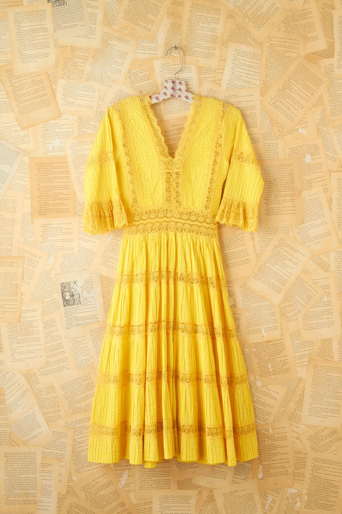 Vintage 1950s Yellow Pleated Maxi Dress
