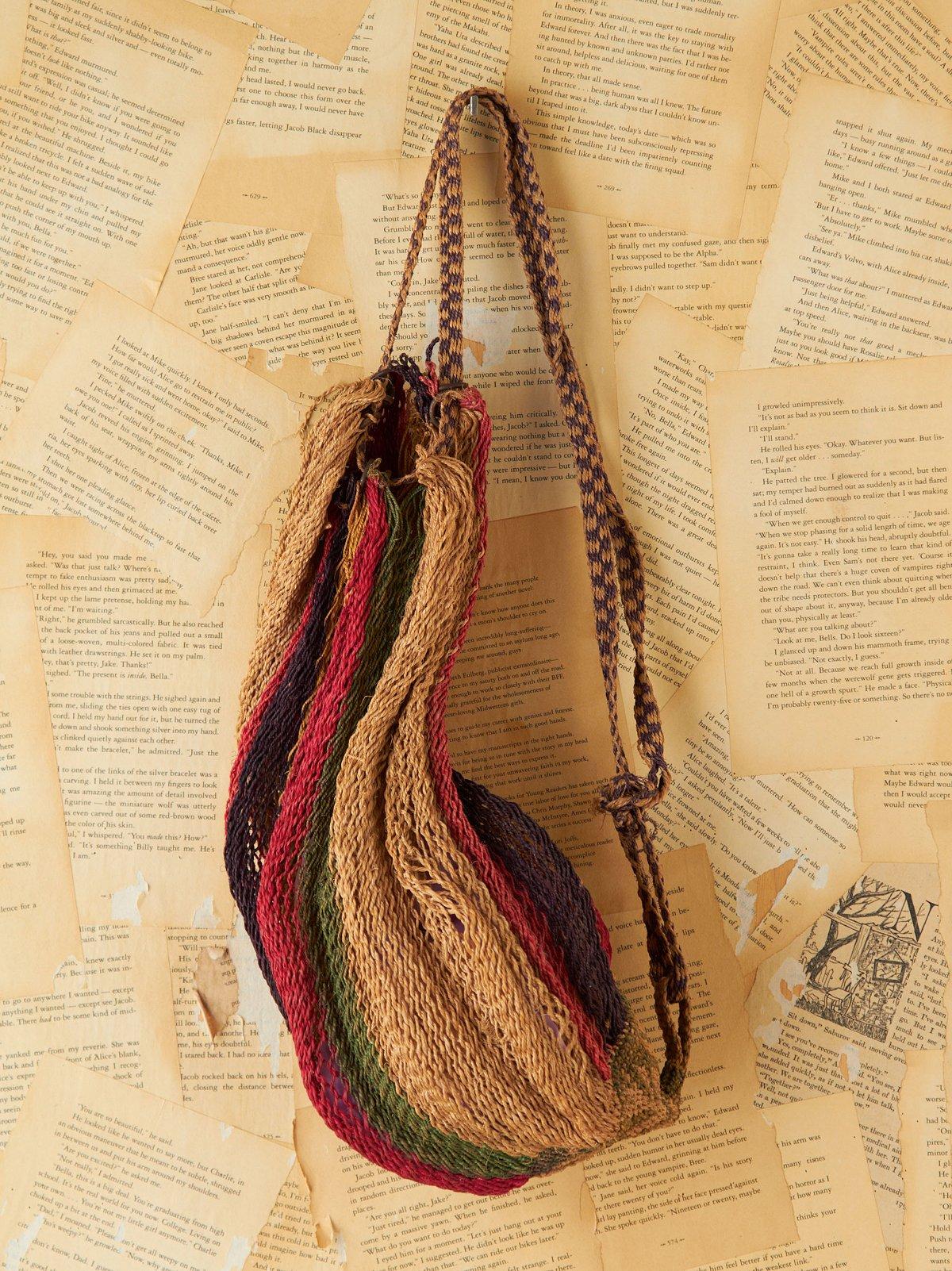 Vintage Striped  Woven Straw Sling Bag