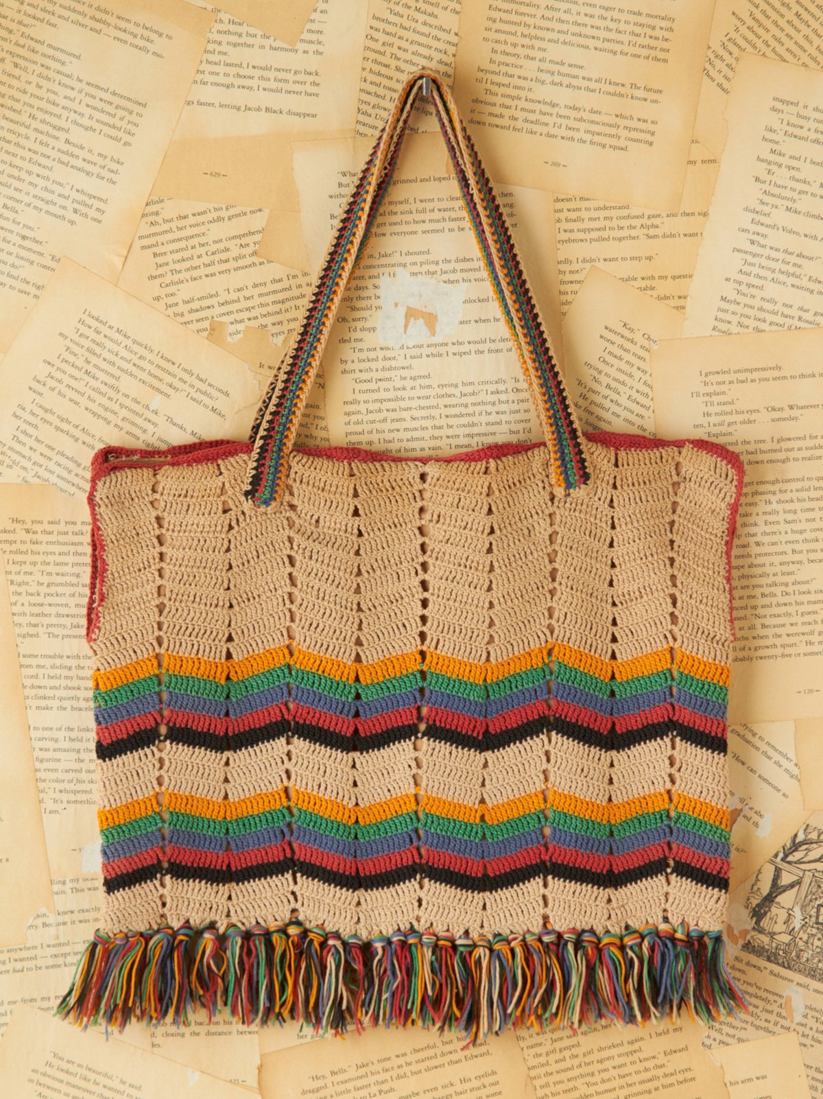 Vintage Multicolor Stripe Woven Bag