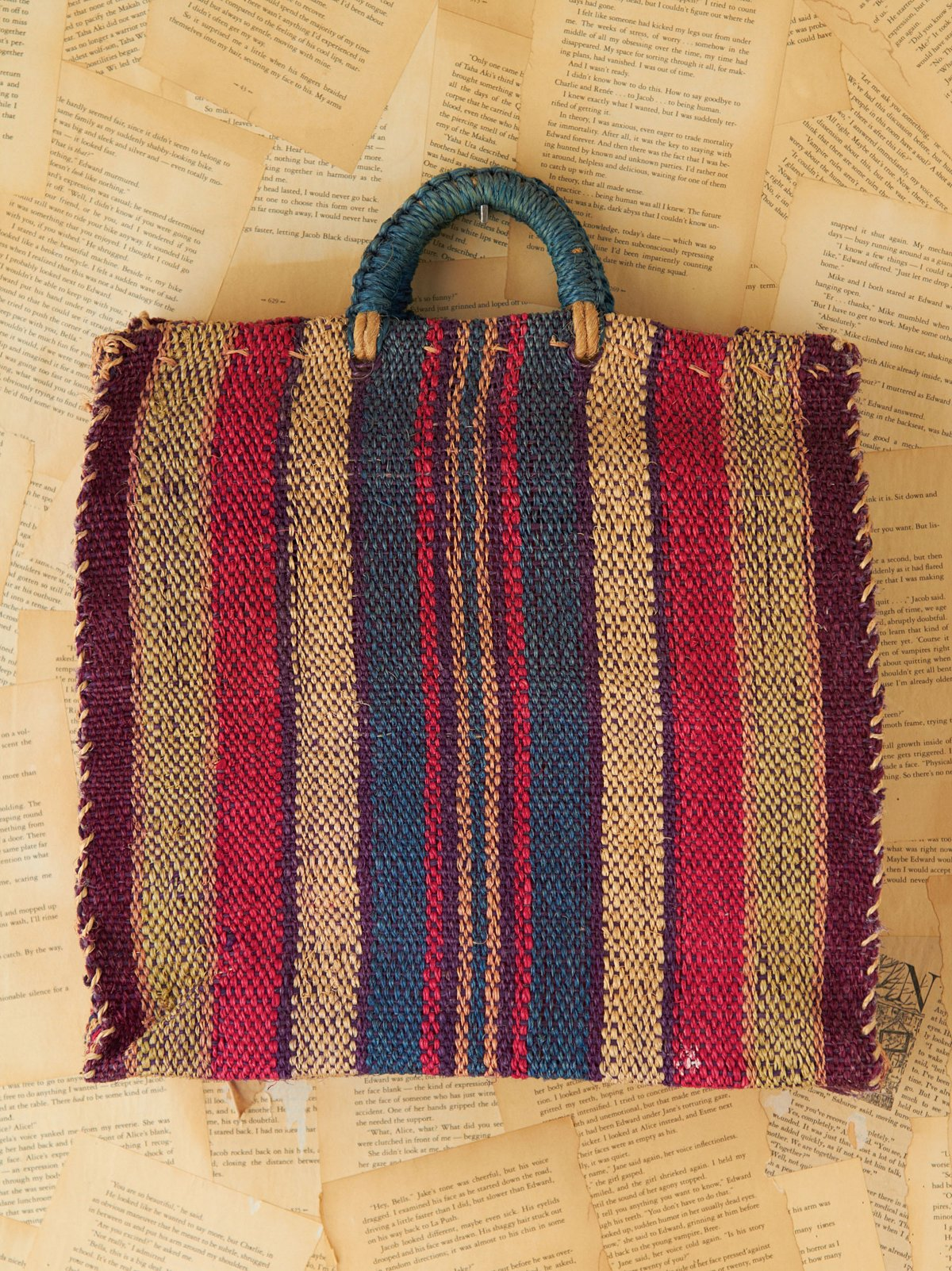 Vintage Multicolor Stripe Woven Straw Tote