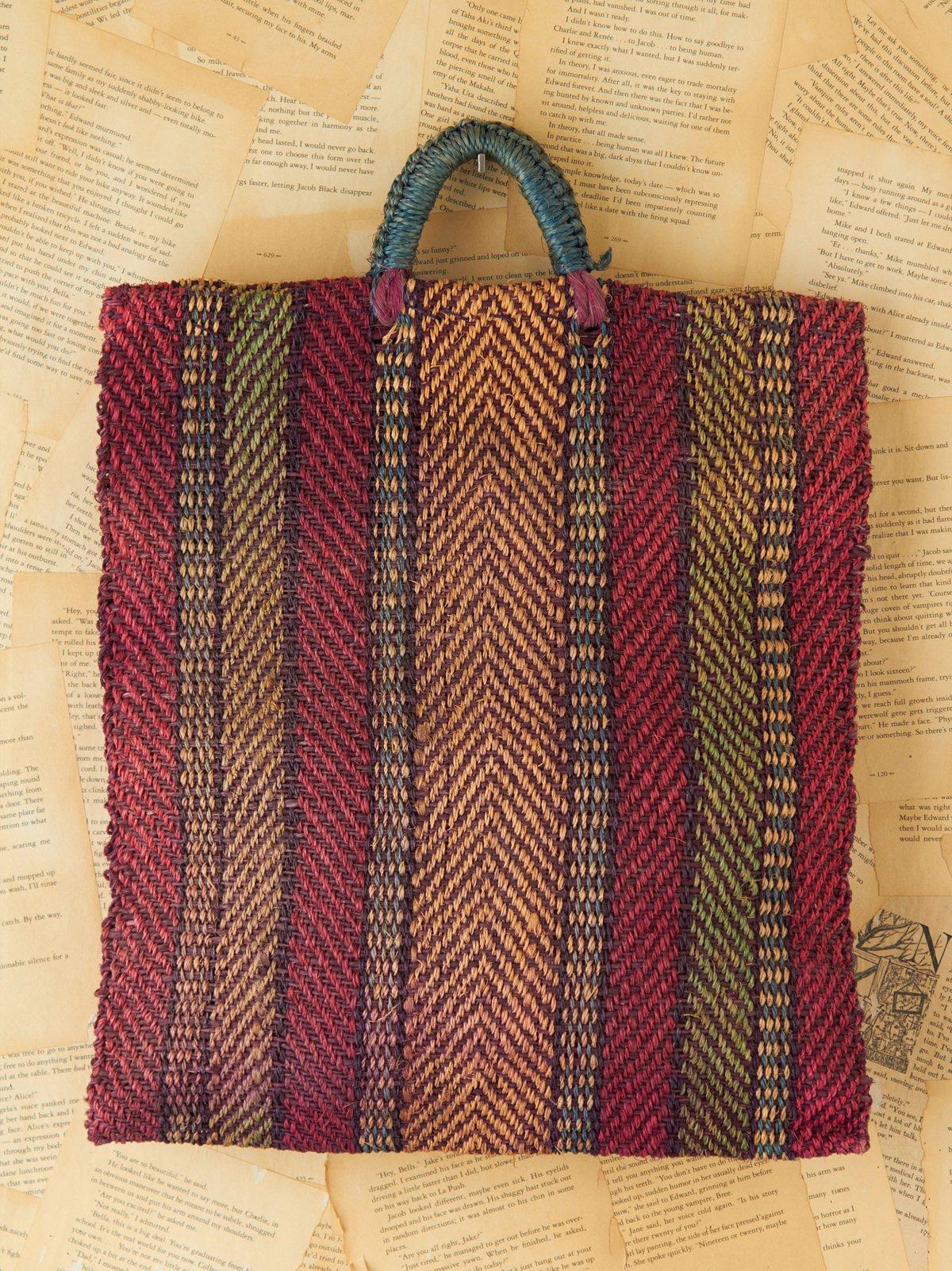 Vintage Multicolor Stripe Woven Shopper Tote