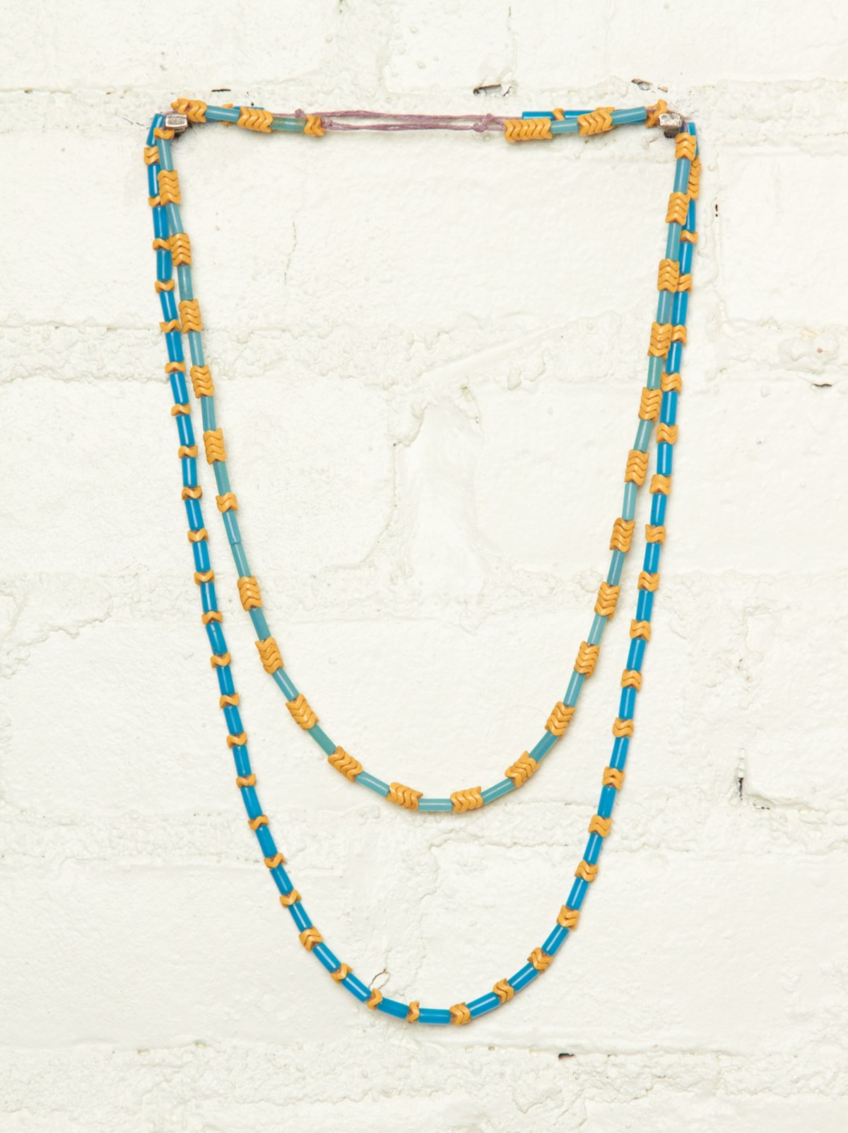 Vintage Blue and Yellow Beaded Necklaces