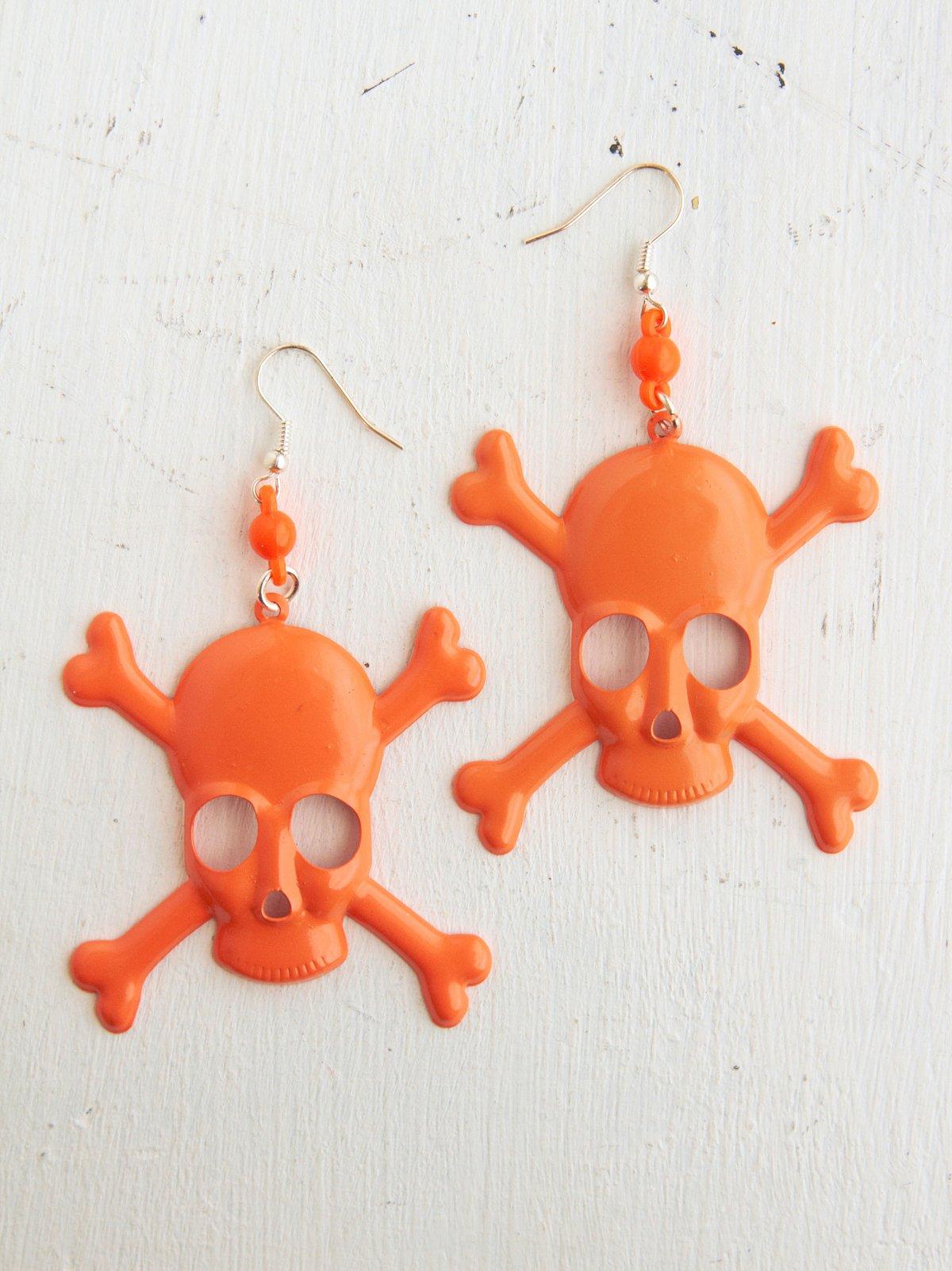 Vintage Orange Metal Skull Earrings