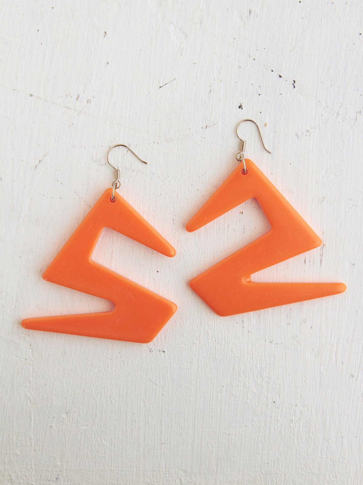 Vintage Orange Geometric Shaped Earrings