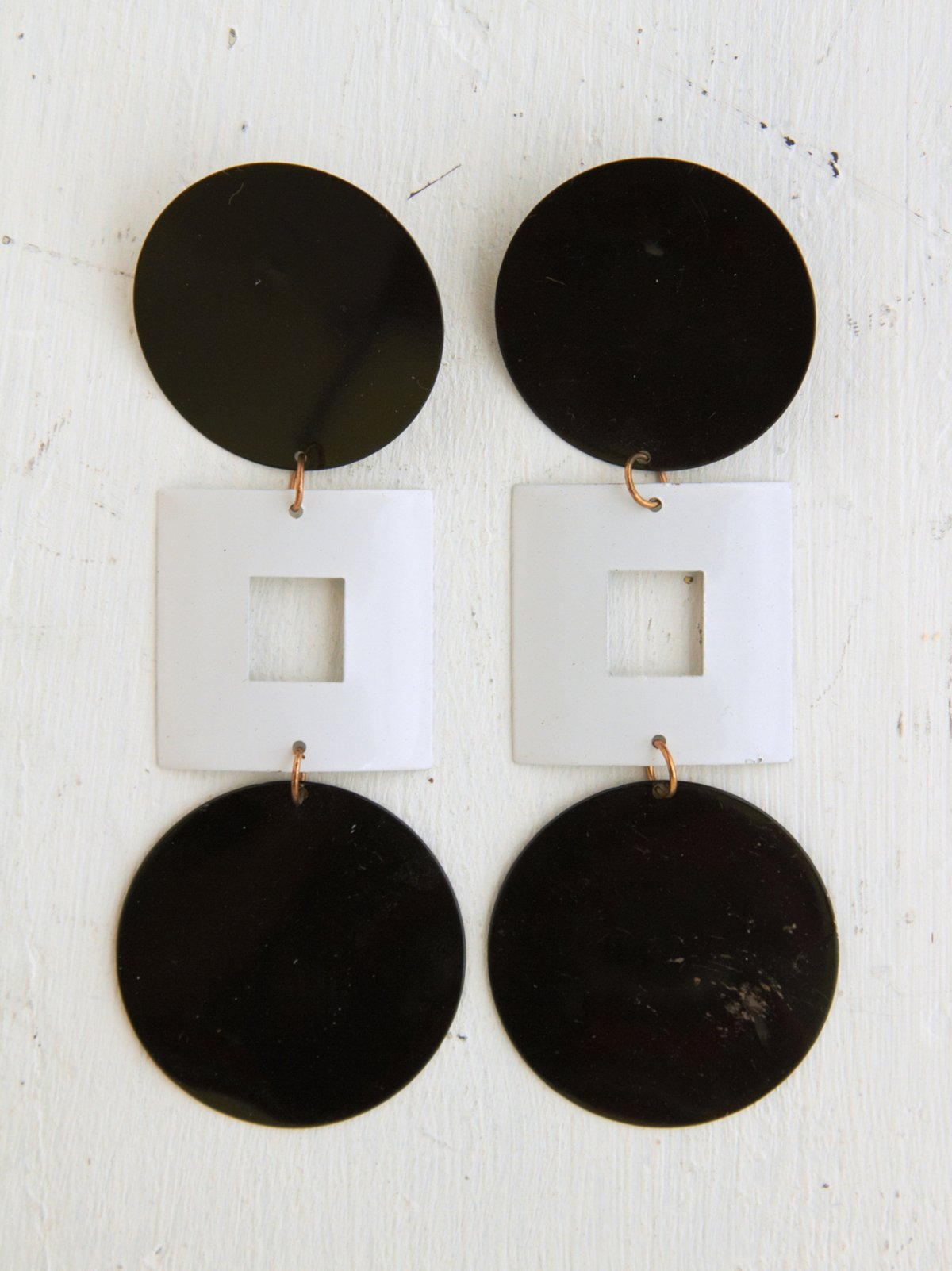 Vintage Circle Square Mod Dangle Earrings