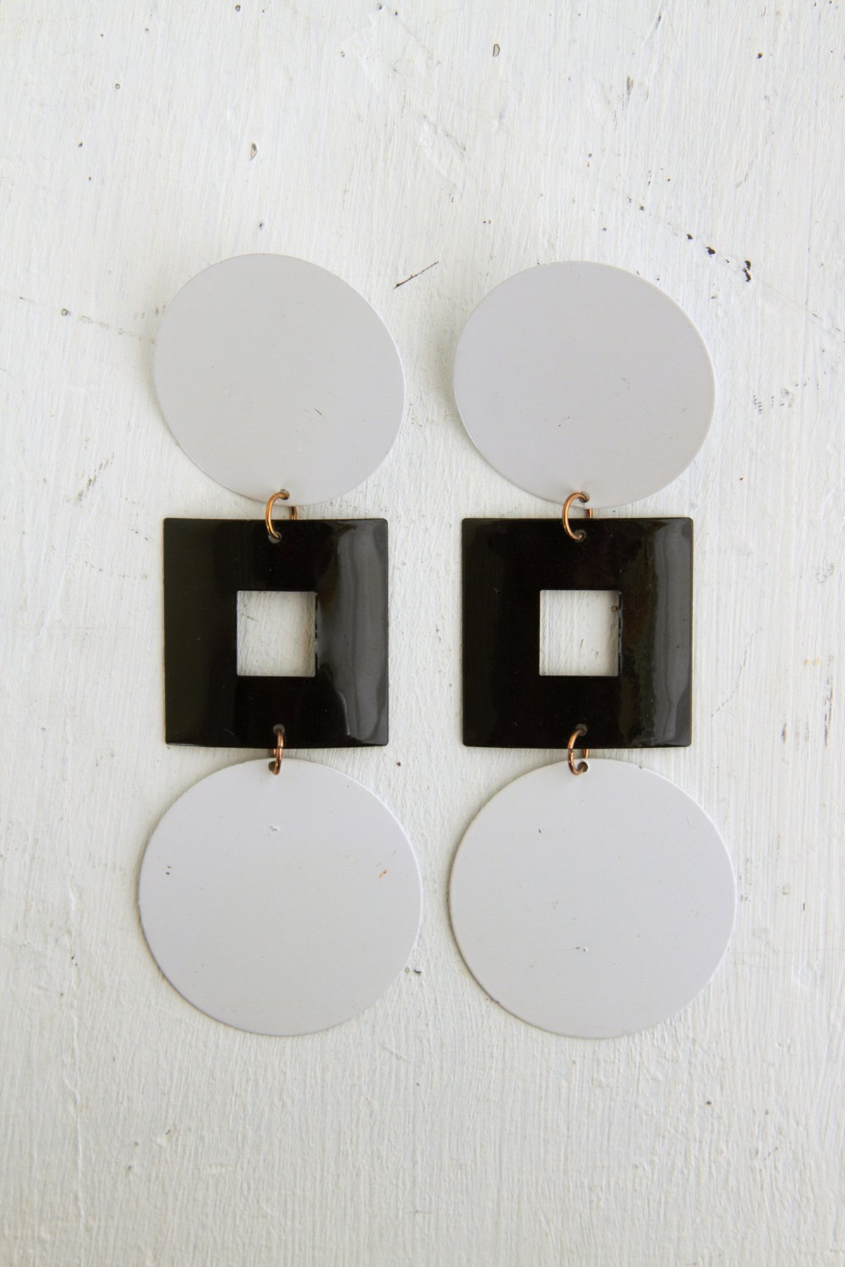 Vintage Circle Square Mod Dangle Earrings
