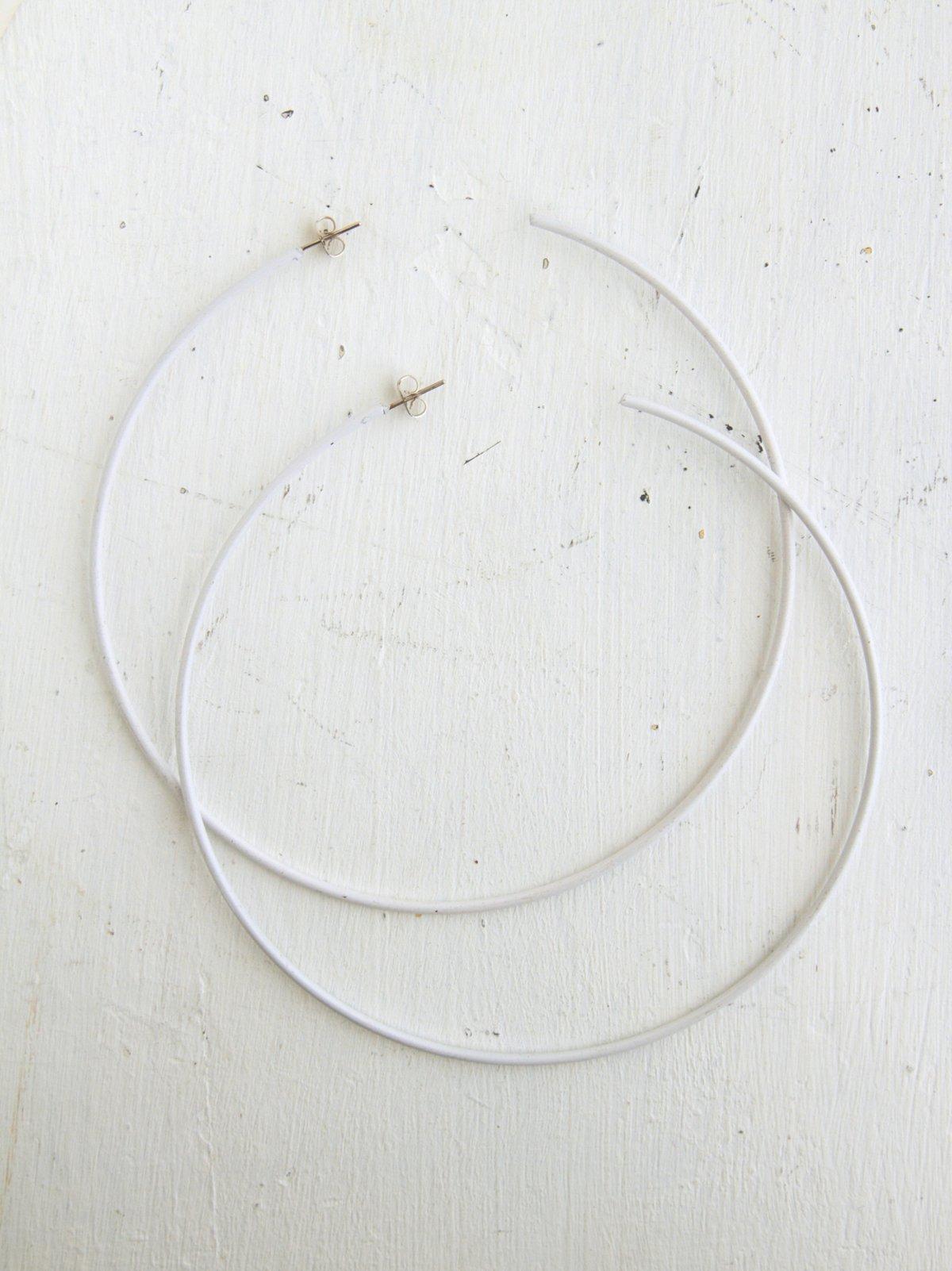 Vintage Large White Hoop Earrings