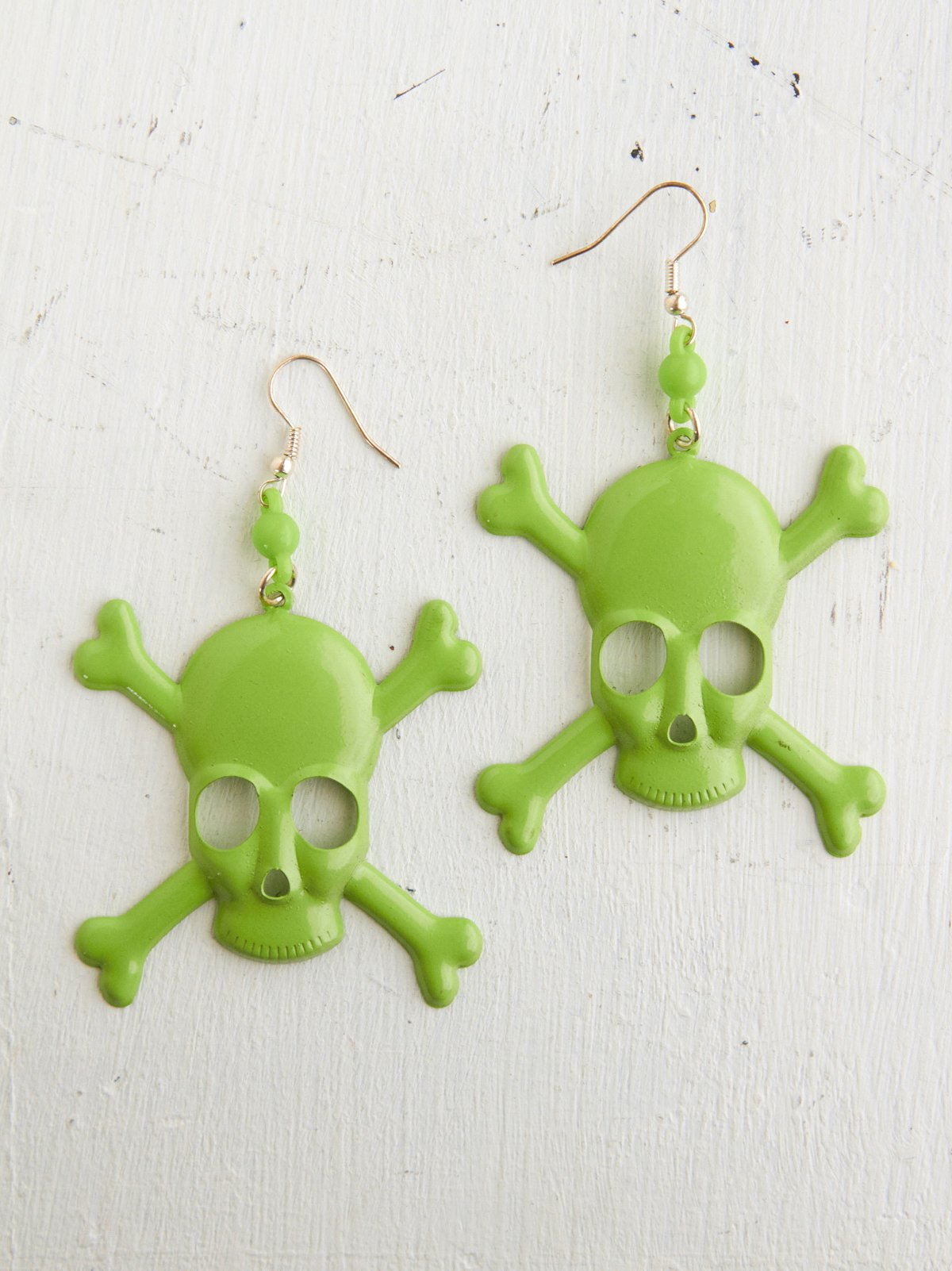 Vintage Green Skull Earrings