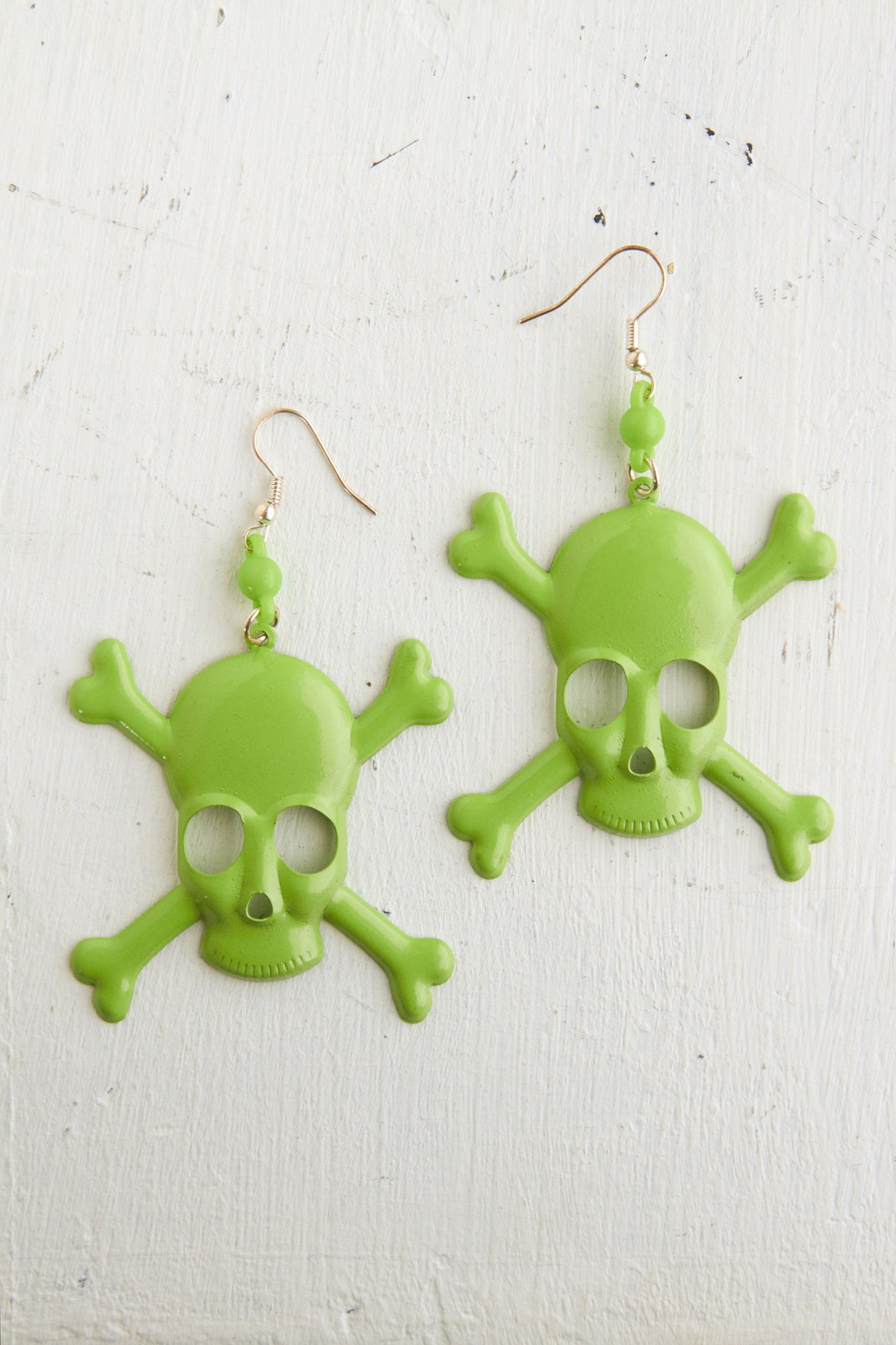 Vintage Green Skull Earrings