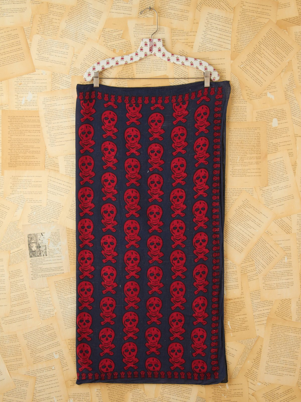 Vintage Blue and Red Skull Printed Scarf