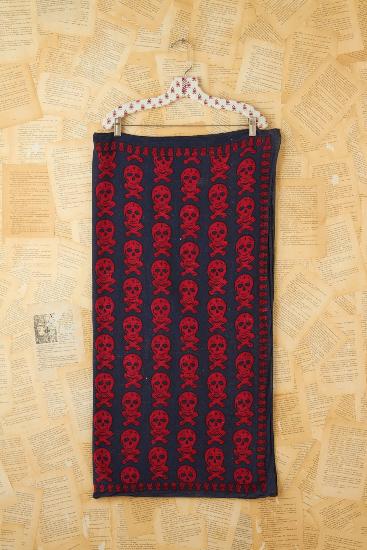 Vintage Blue and Red Skull Printed Scarf