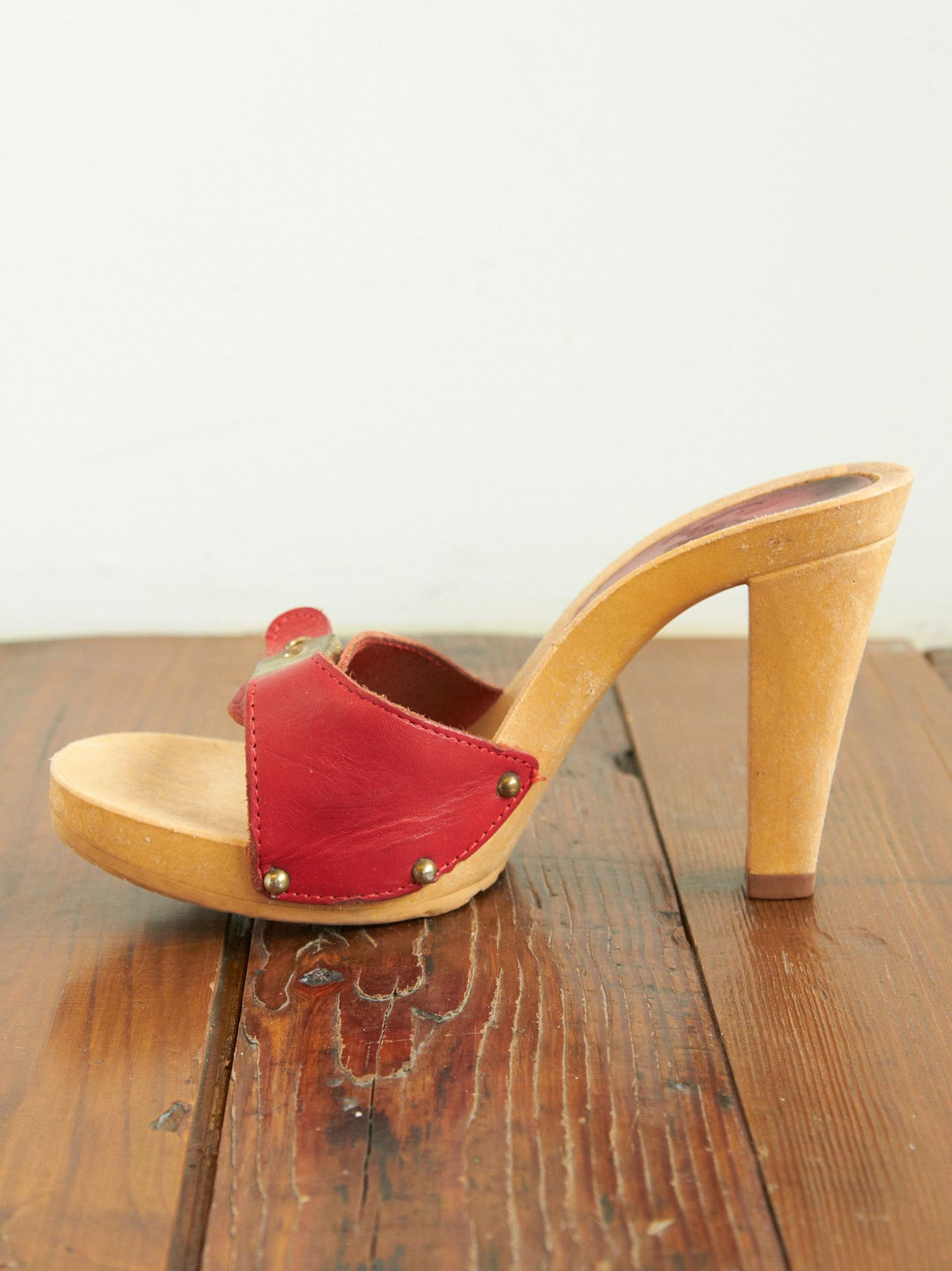 Vintage Red Leather Buckle Clog Sandals