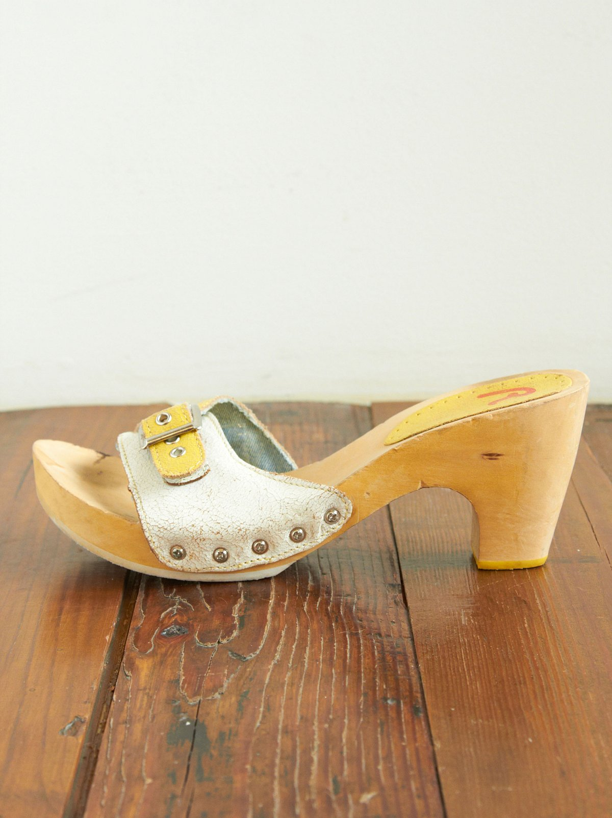 White and Yellow Leather Clog Sandals
