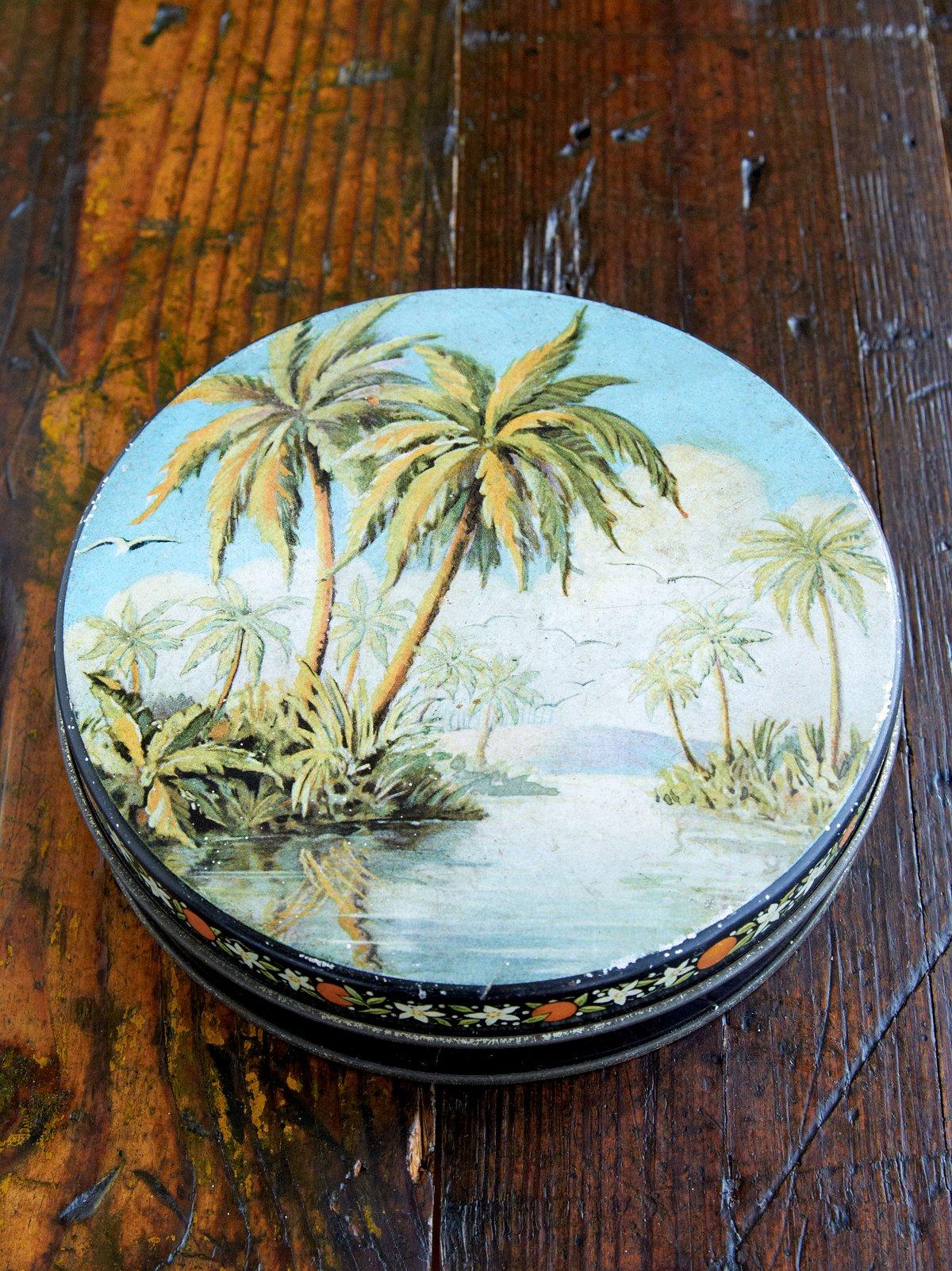 Vintage Hawaiian Circle Tin Box