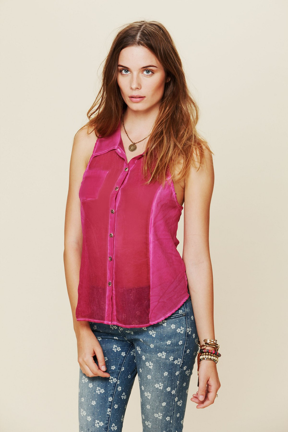 We The Free Sheer Collared Buttondown Tank