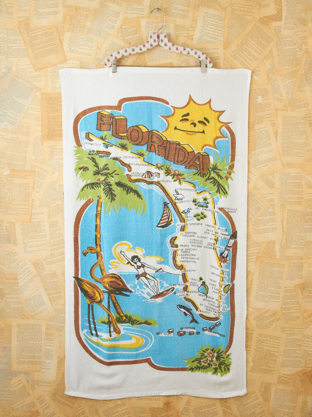 Vintage Florida State Printed  Beach Towel