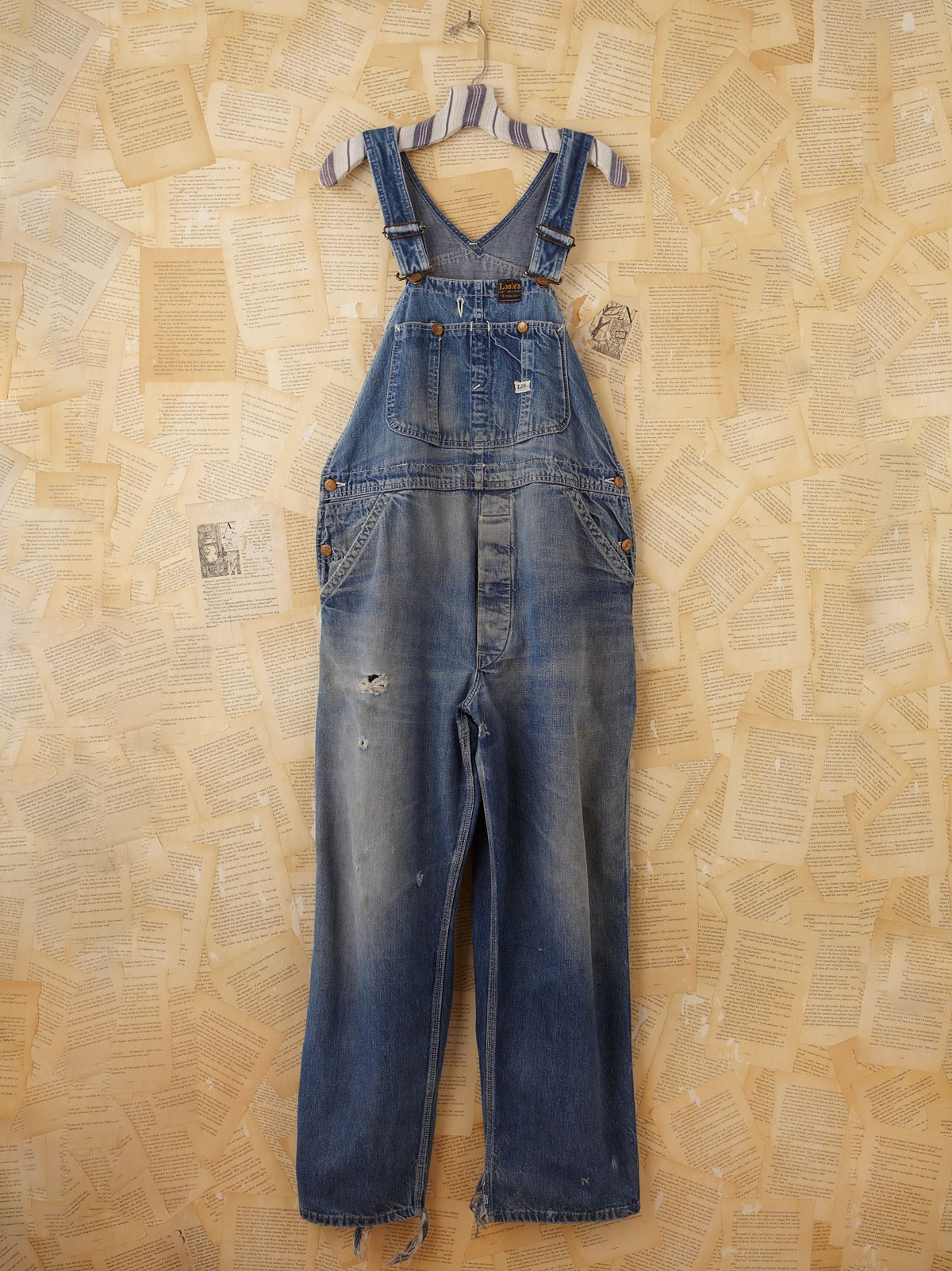 Vintage Distressed Denim Overalls