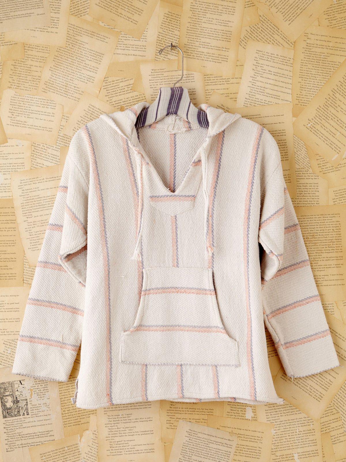 Vintage Woven Blanket Hooded Pullover
